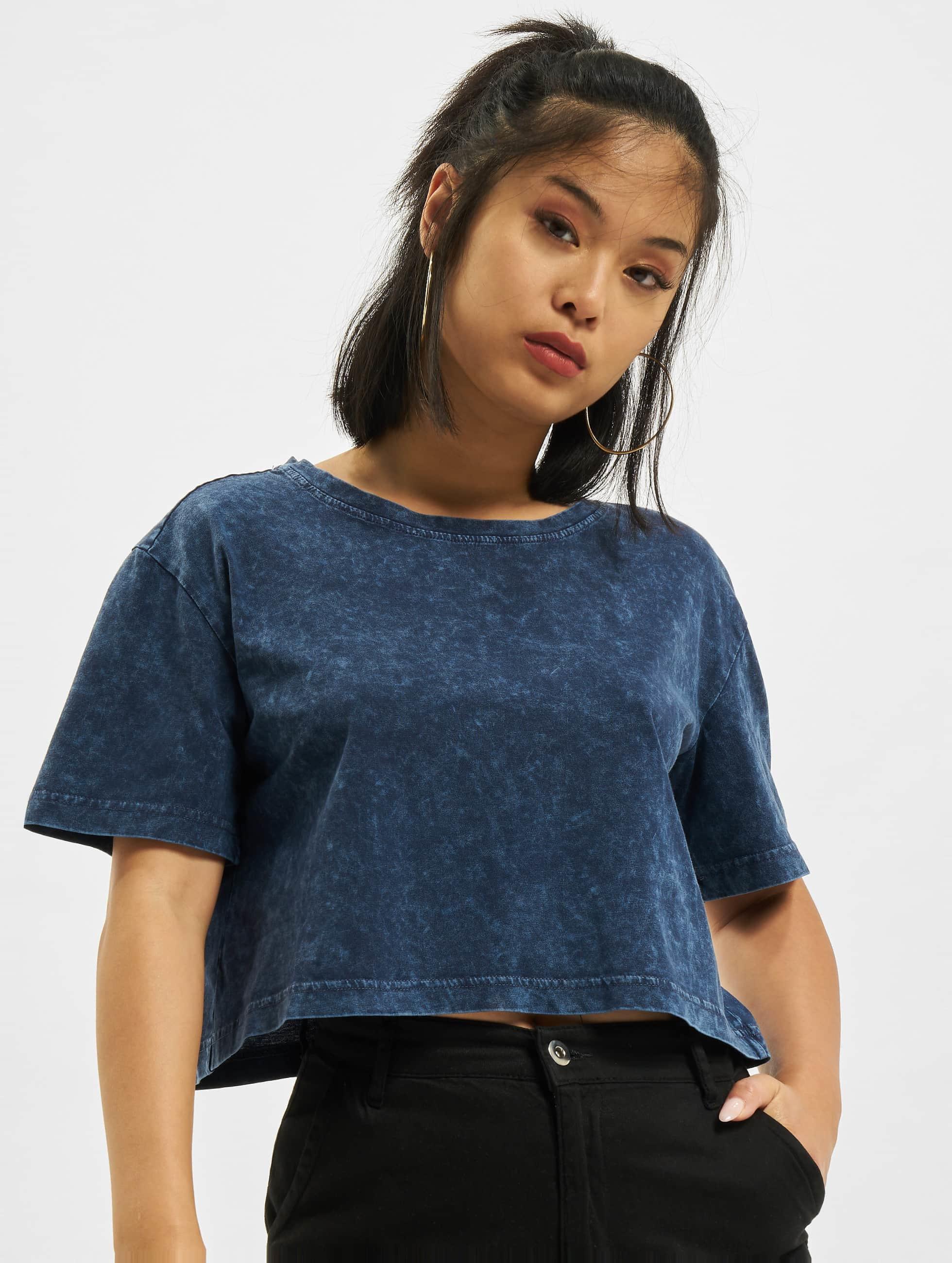 Urban Classics Frauen T-Shirt Random Wash Short Oversize in indigo