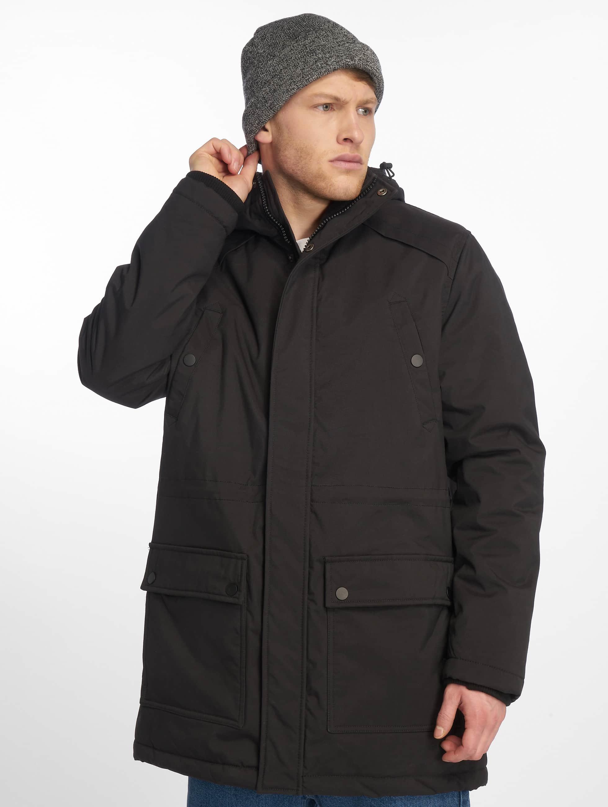 Urban Classics Männer Mantel Hooded Heavy Thumbhole in schwarz