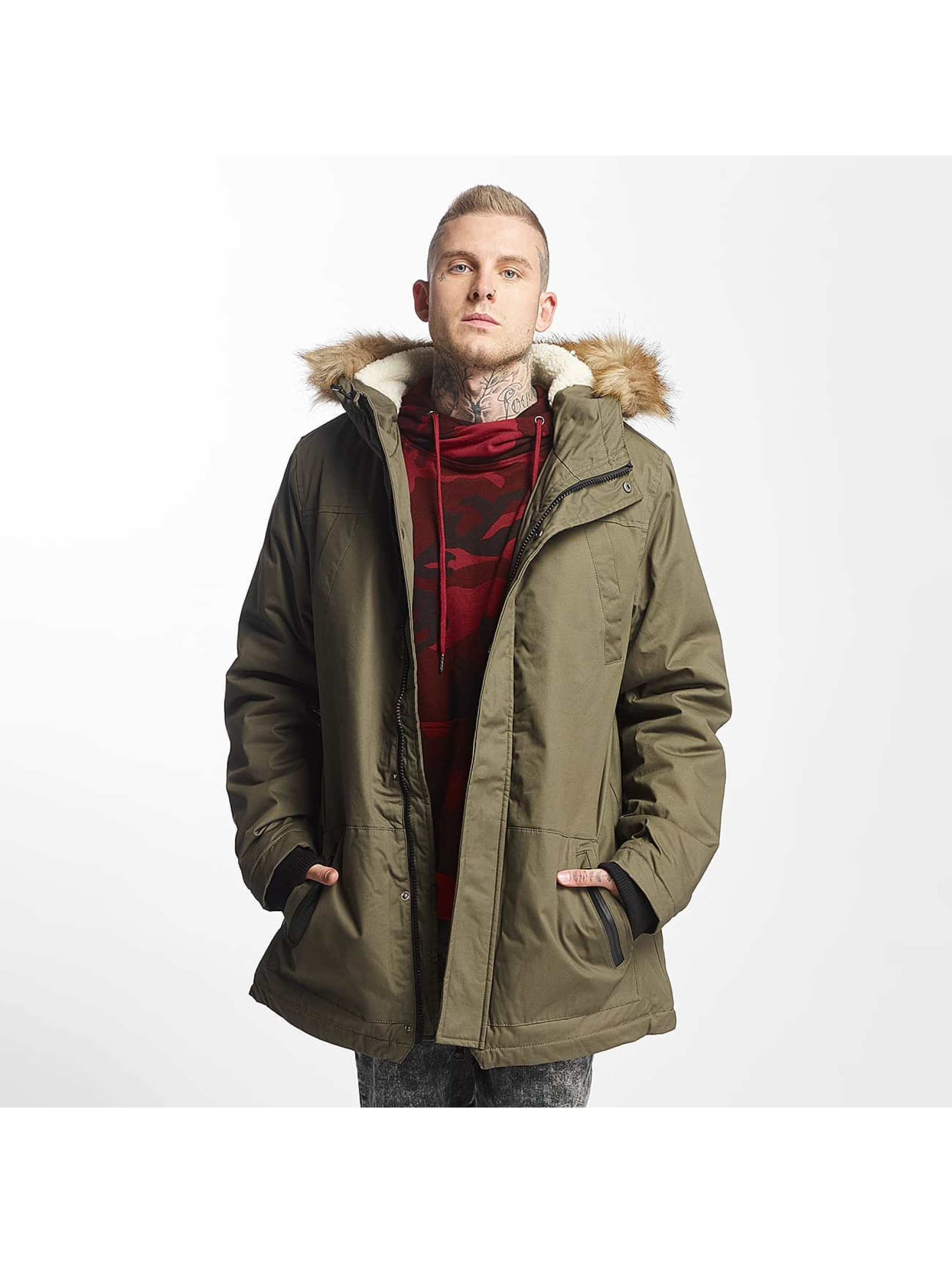 Urban Classics Männer Mantel Heavy Cotton Imitation Fur in olive