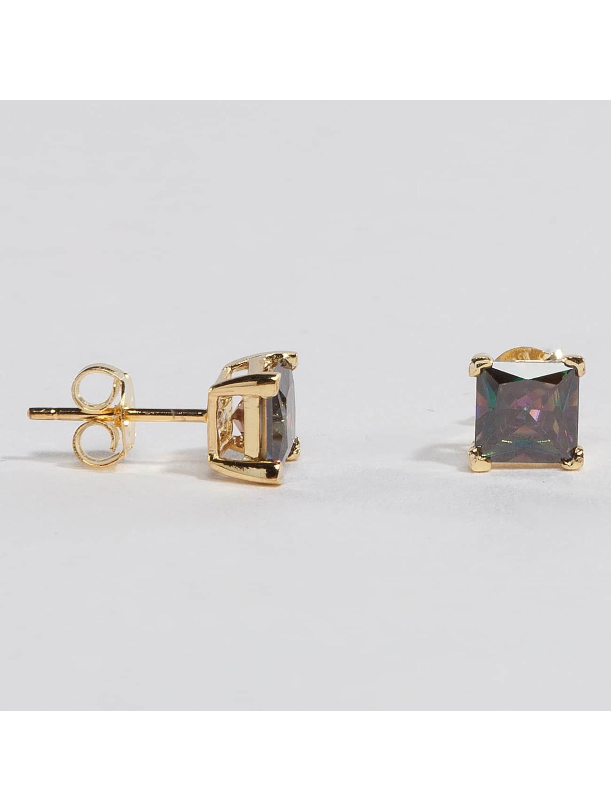 KING ICE Männer,Frauen Ohrringe Gold_Plated 6mm 925 Sterling_Silver CZ Princess Cut in goldfarben