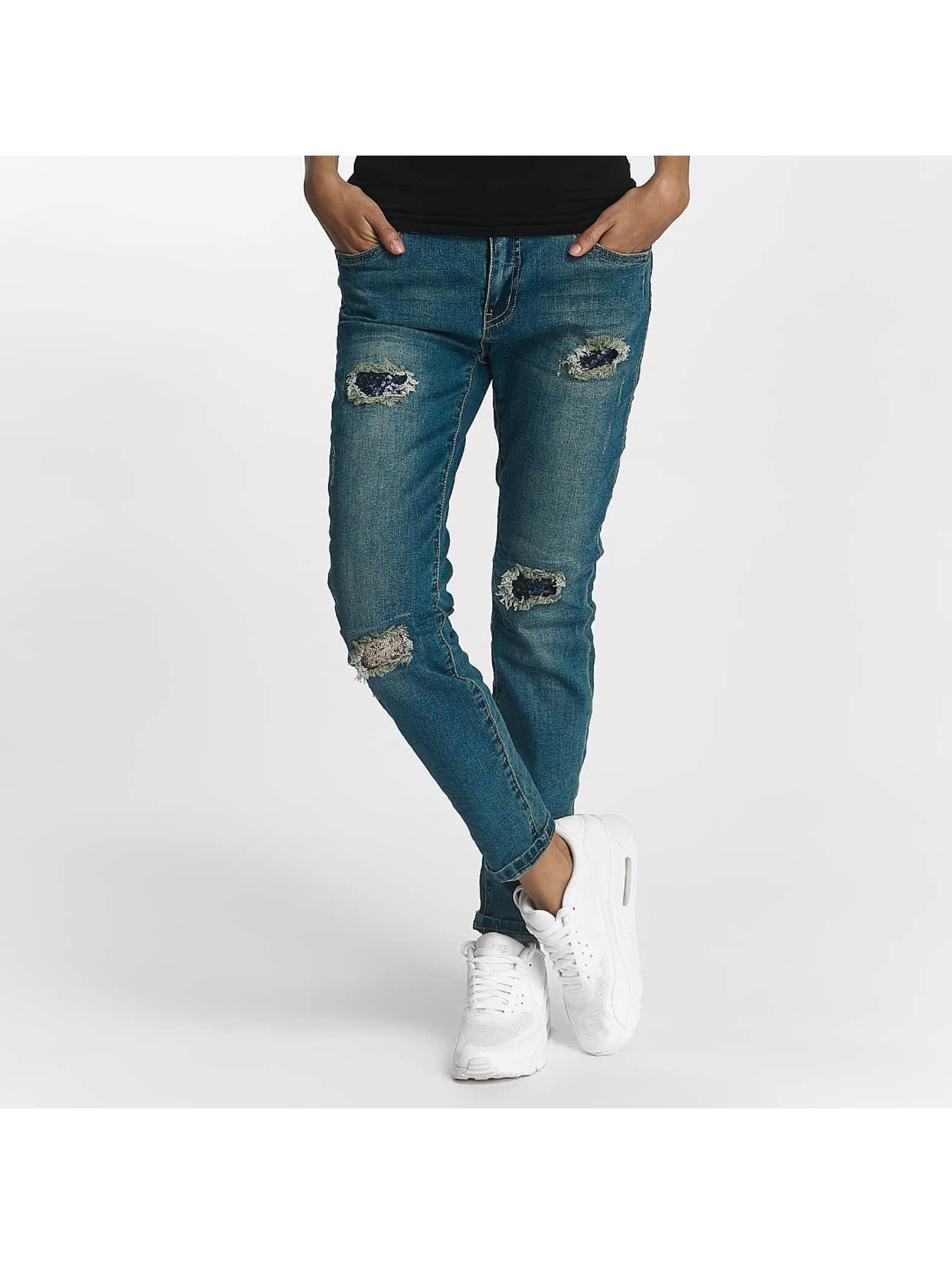 Rock Angel Frauen Straight Fit Jeans Charlotta in blau
