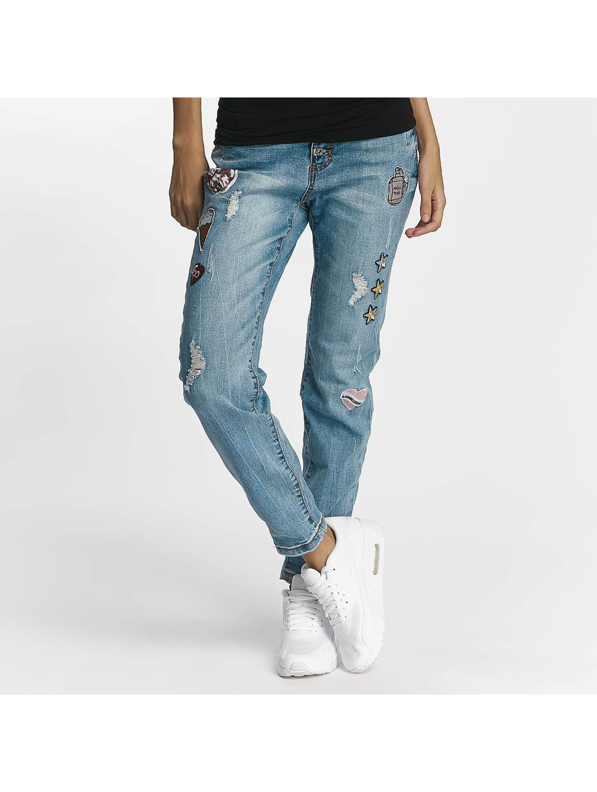 Rock Angel Männer Straight Fit Jeans Rosie Badges in blau