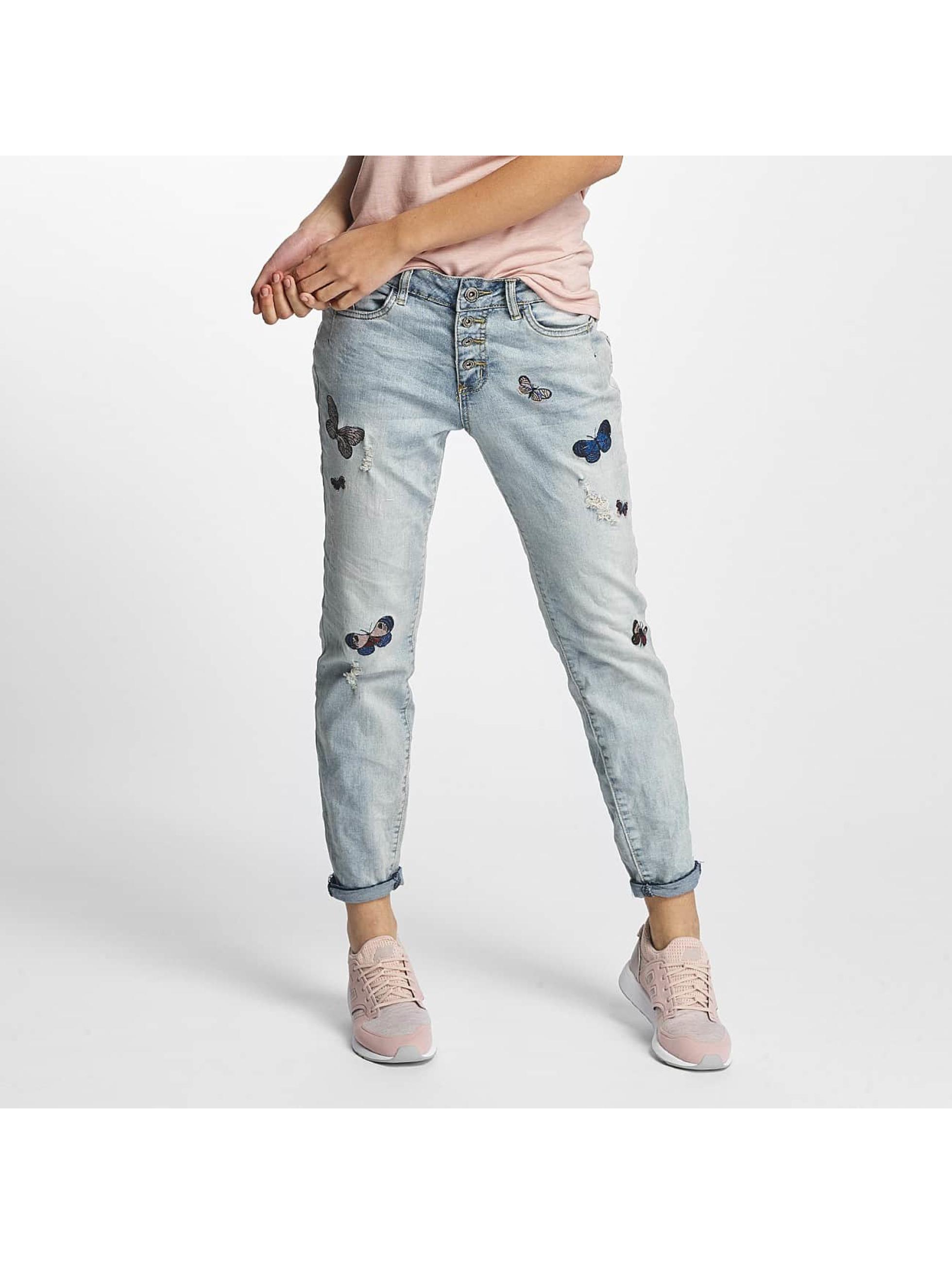 Rock Angel Frauen Loose Fit Jeans Rosie Badges in blau