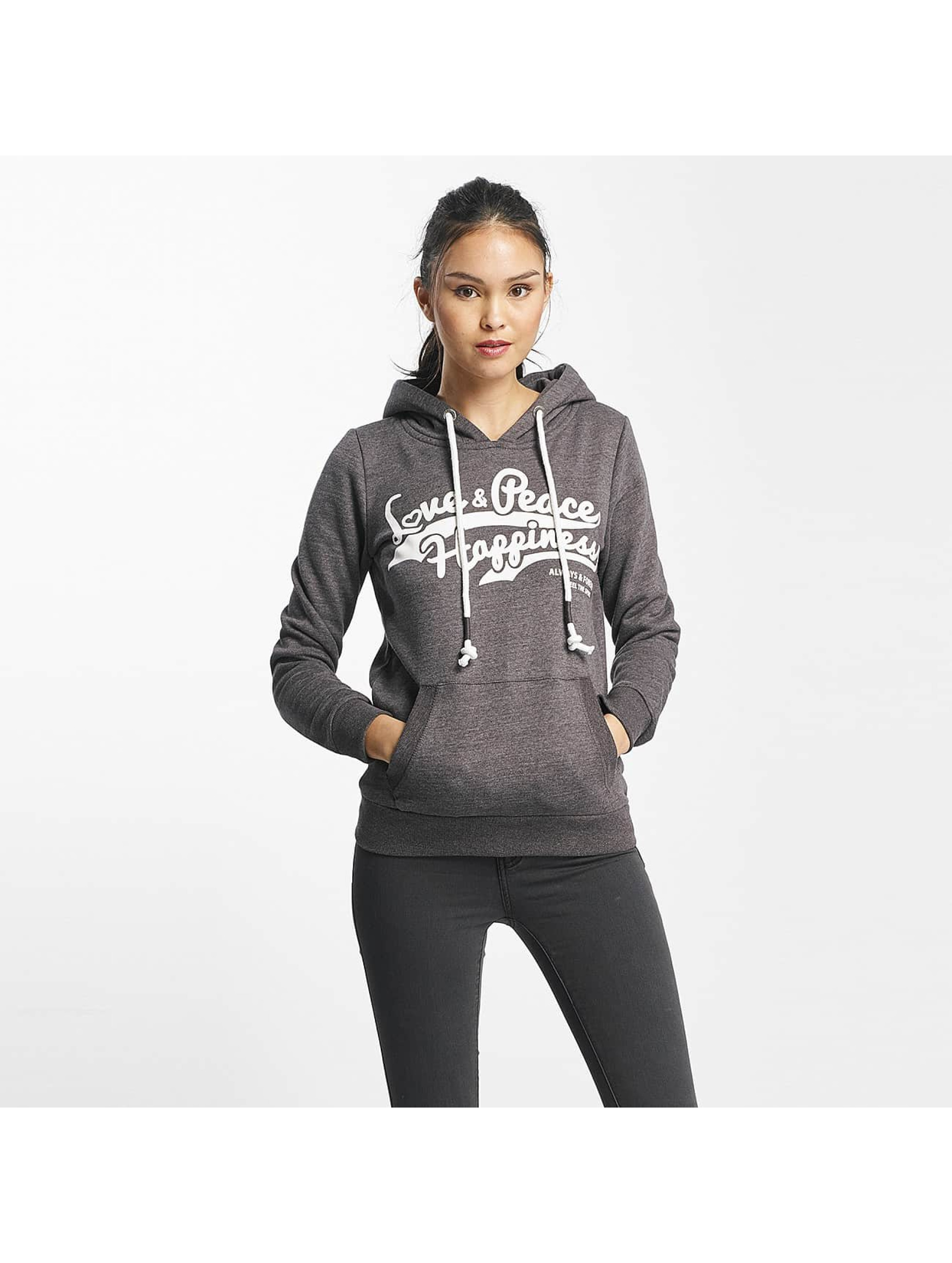 Sublevel Frauen Hoody Love Peace Happiness in grau