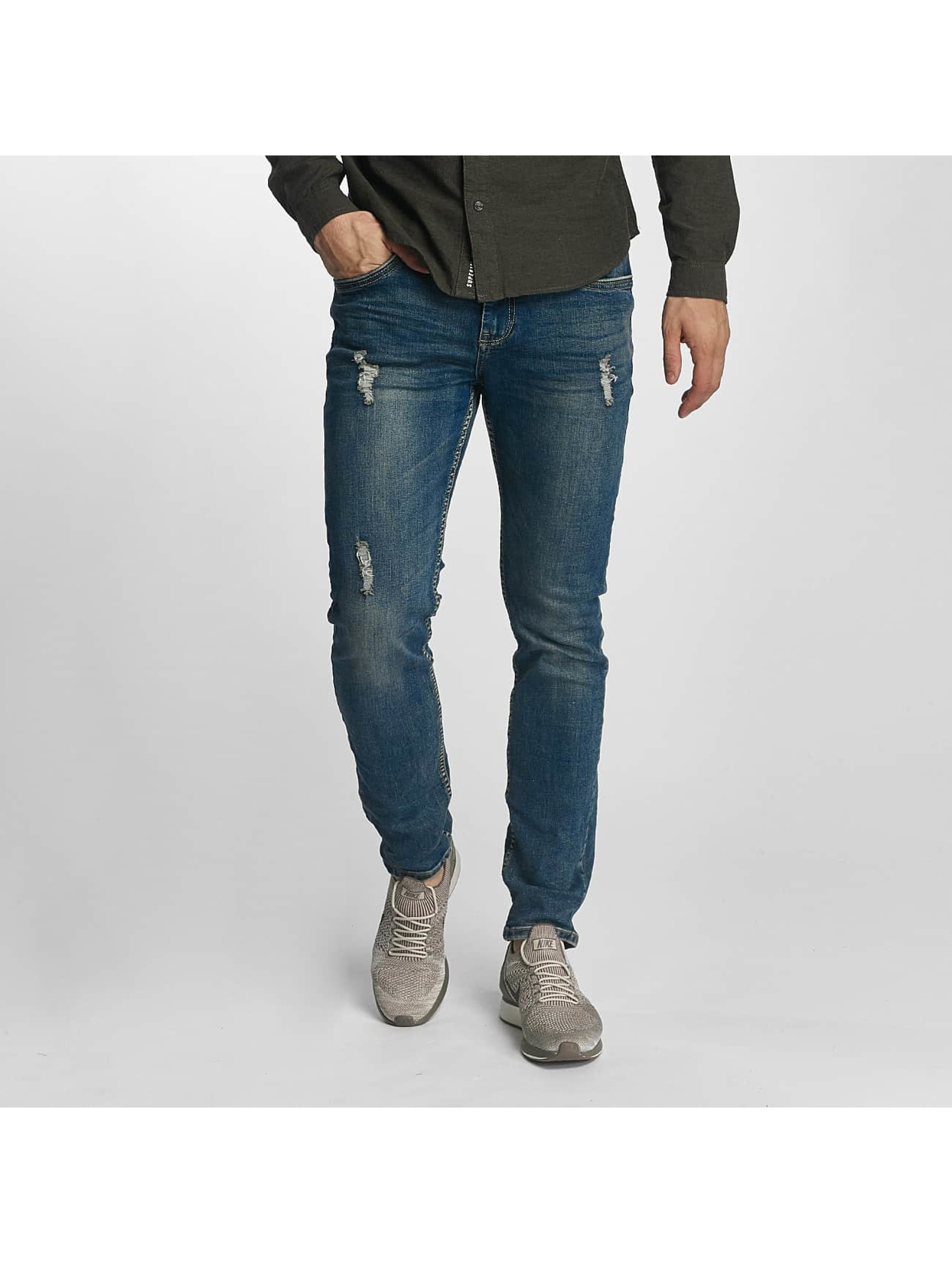 Sublevel Männer Slim Fit Jeans Destroyed Look in blau