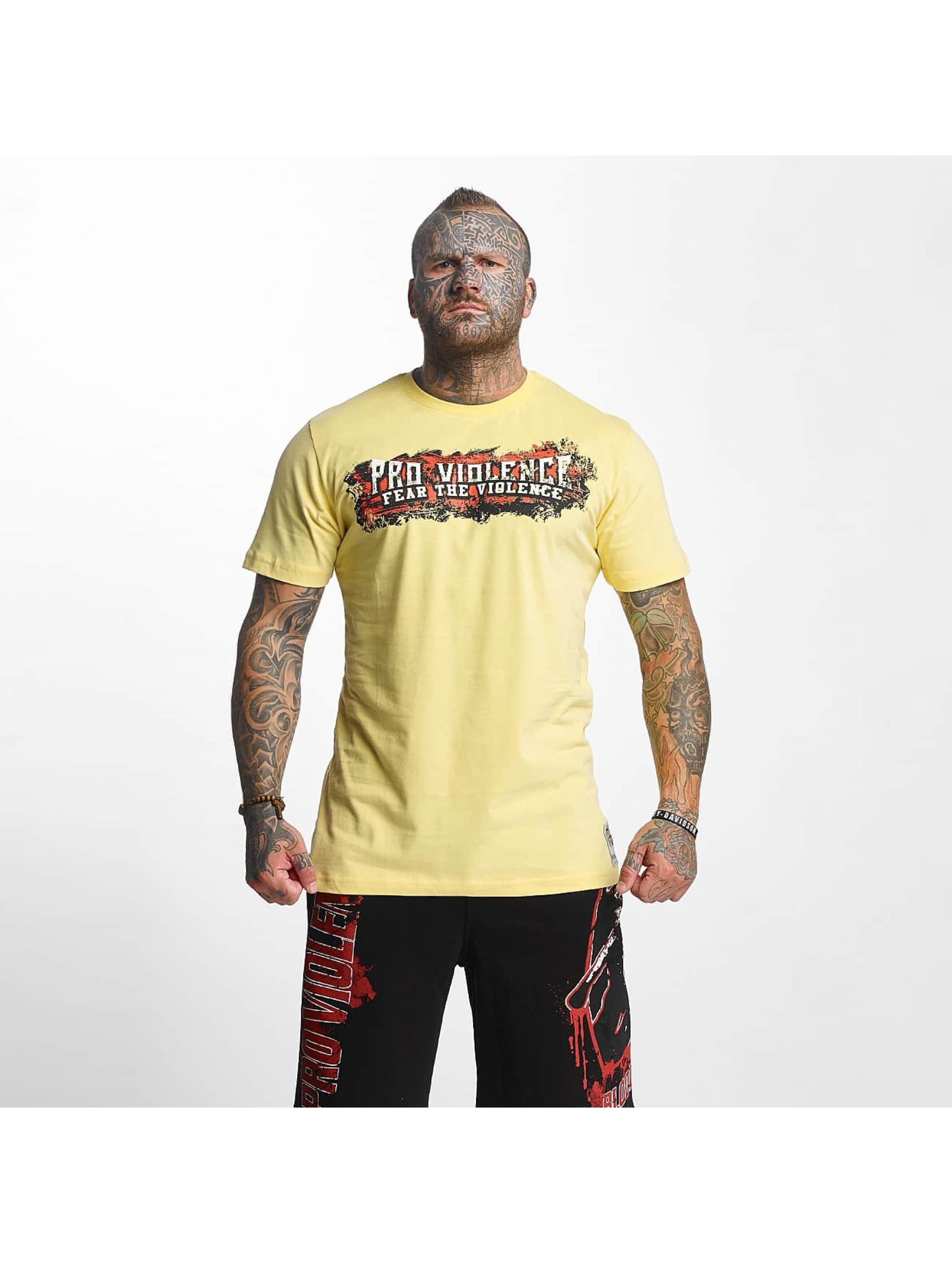 Pro Violence Streetwear Männer T-Shirt The Violence Fear in gelb