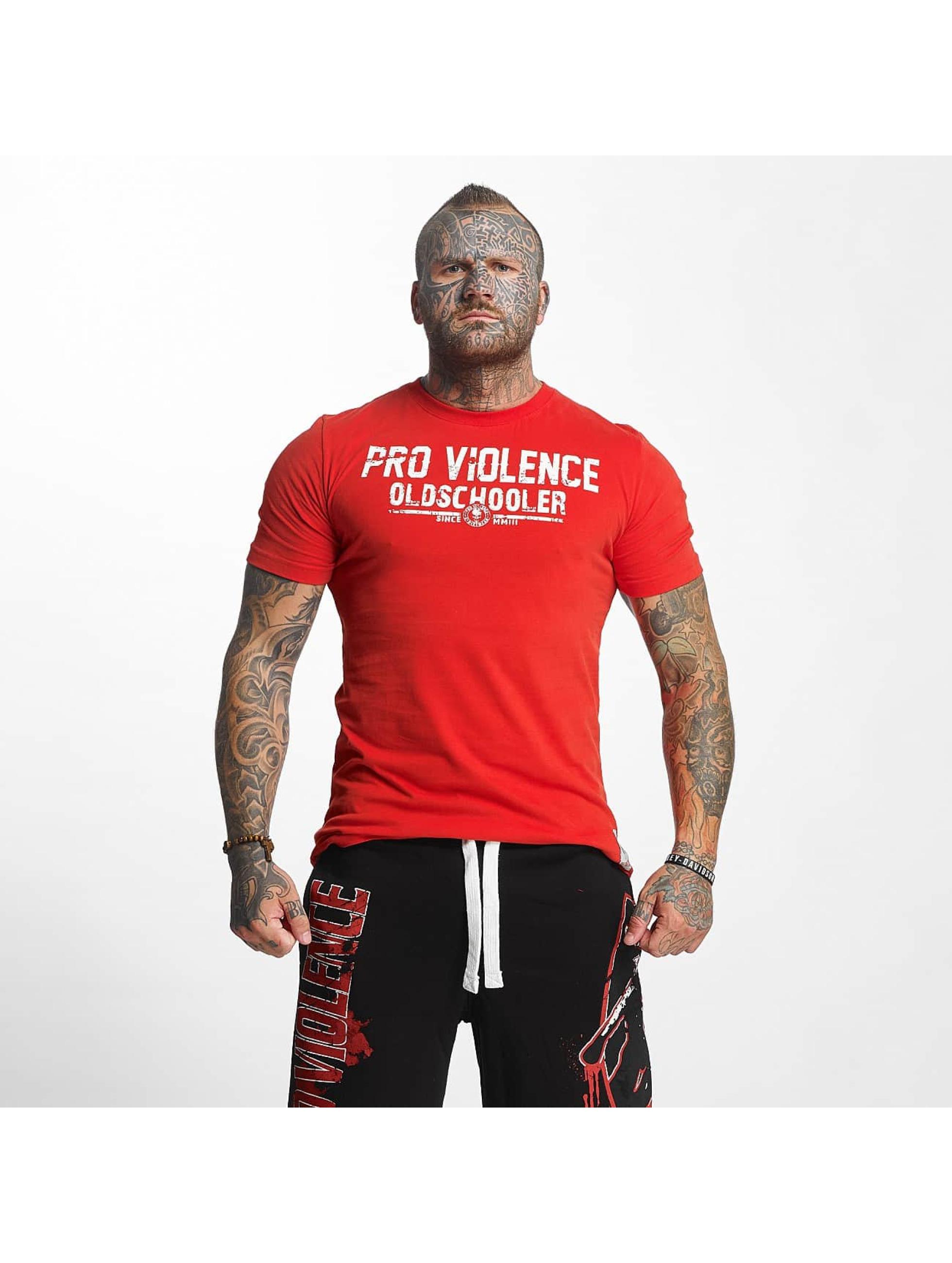 Pro Violence Streetwear Männer T-Shirt Oldschool Hardknocker in rot