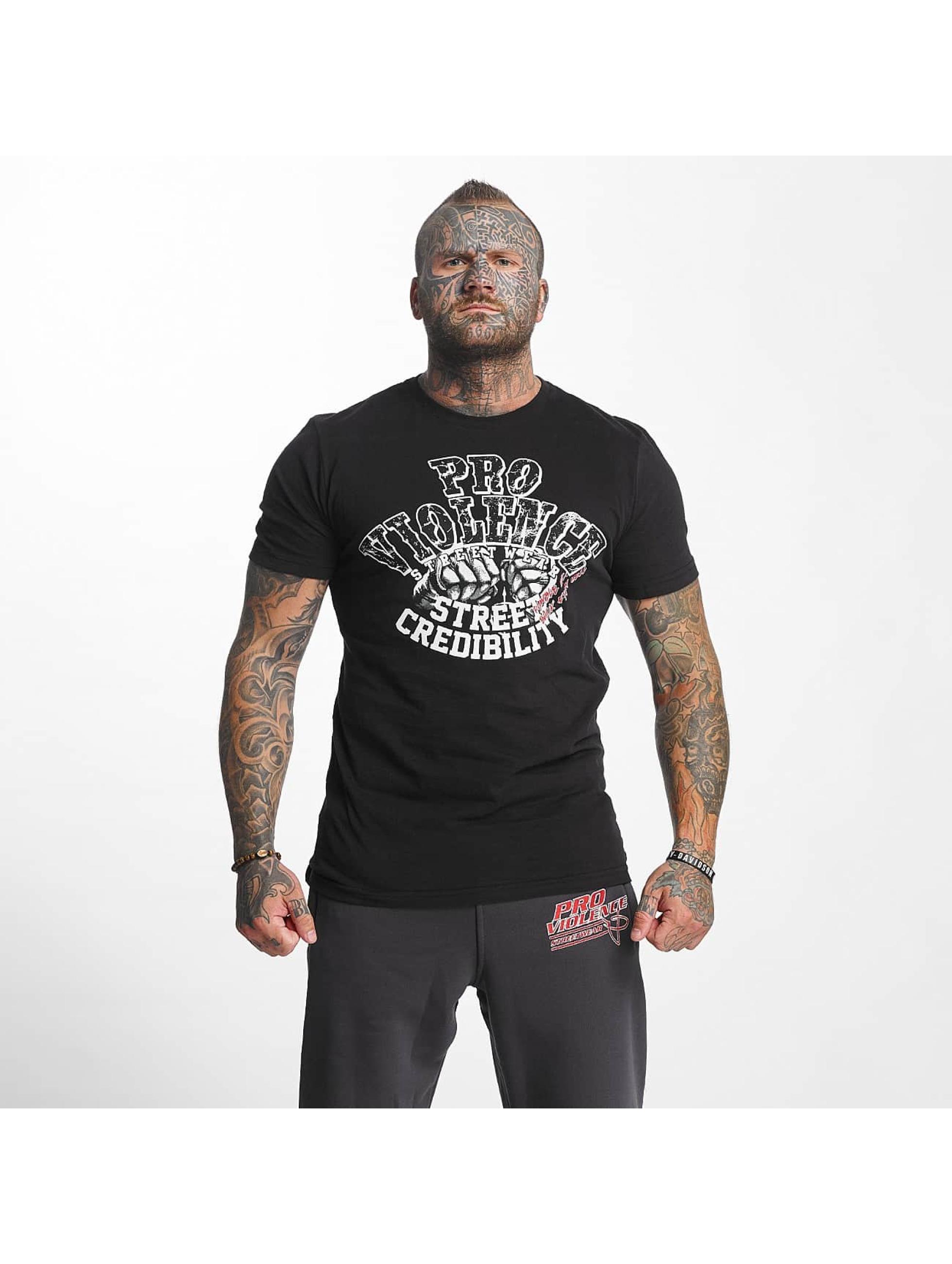 Pro Violence Streetwear Männer T-Shirt Street Credibility in schwarz