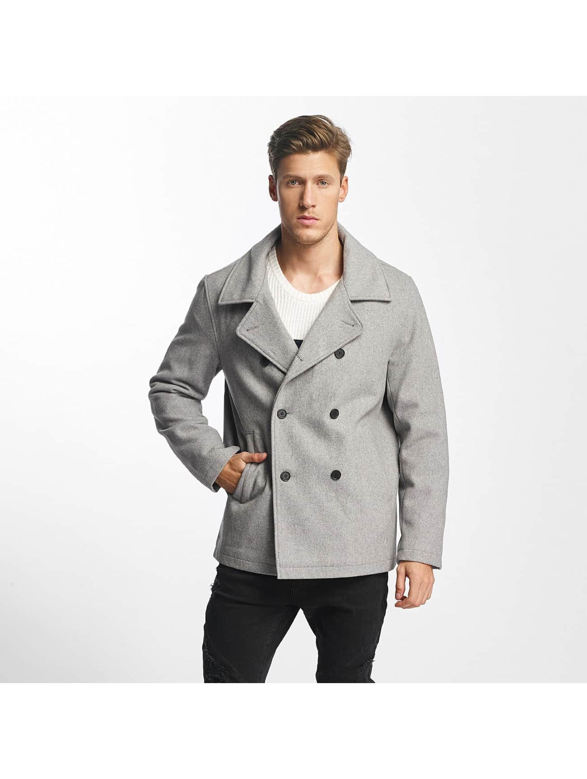 SHINE Original Männer Mantel Button Row in grau