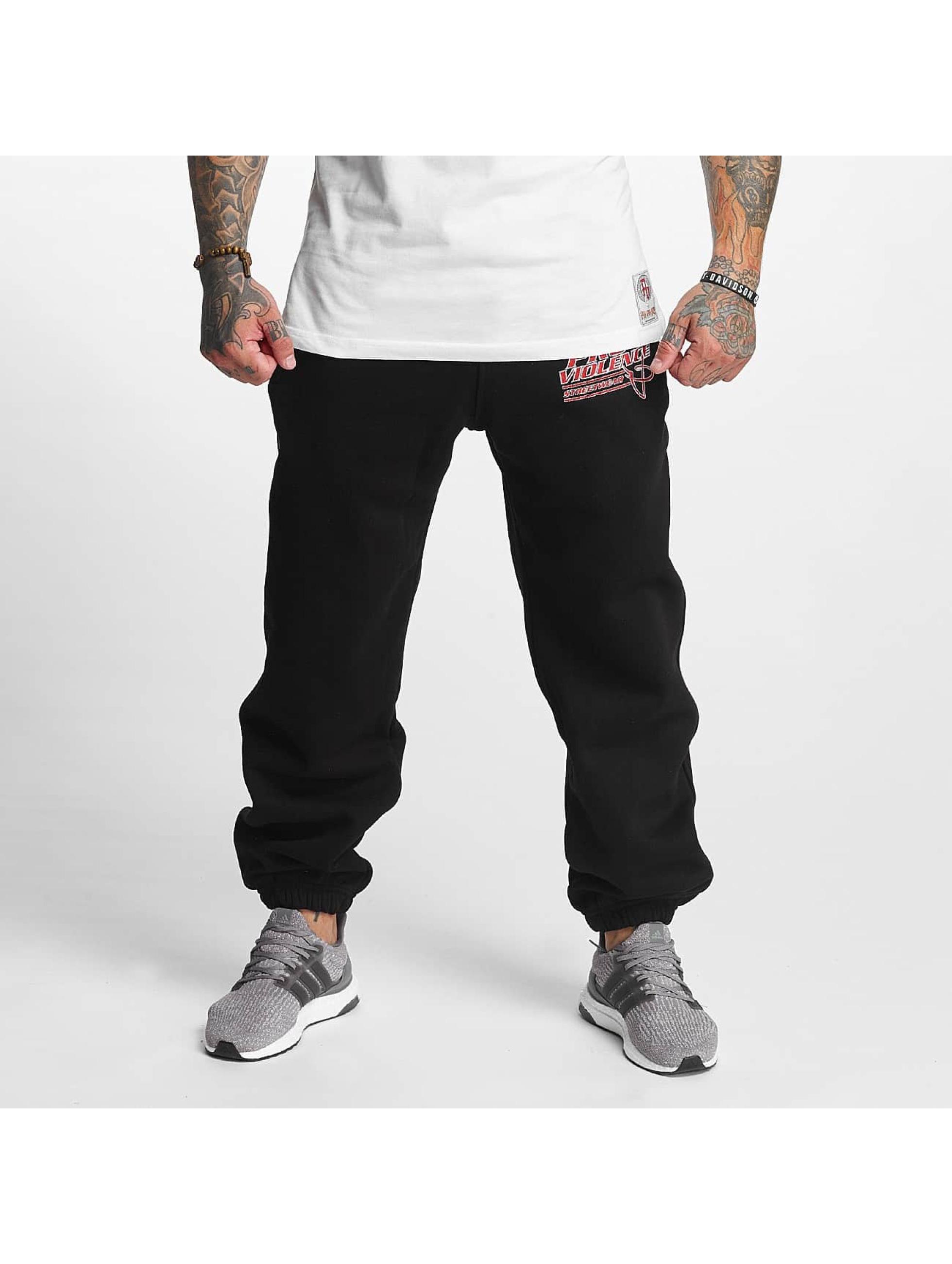 Pro Violence Streetwear Männer Jogginghose Label No. 1 in schwarz