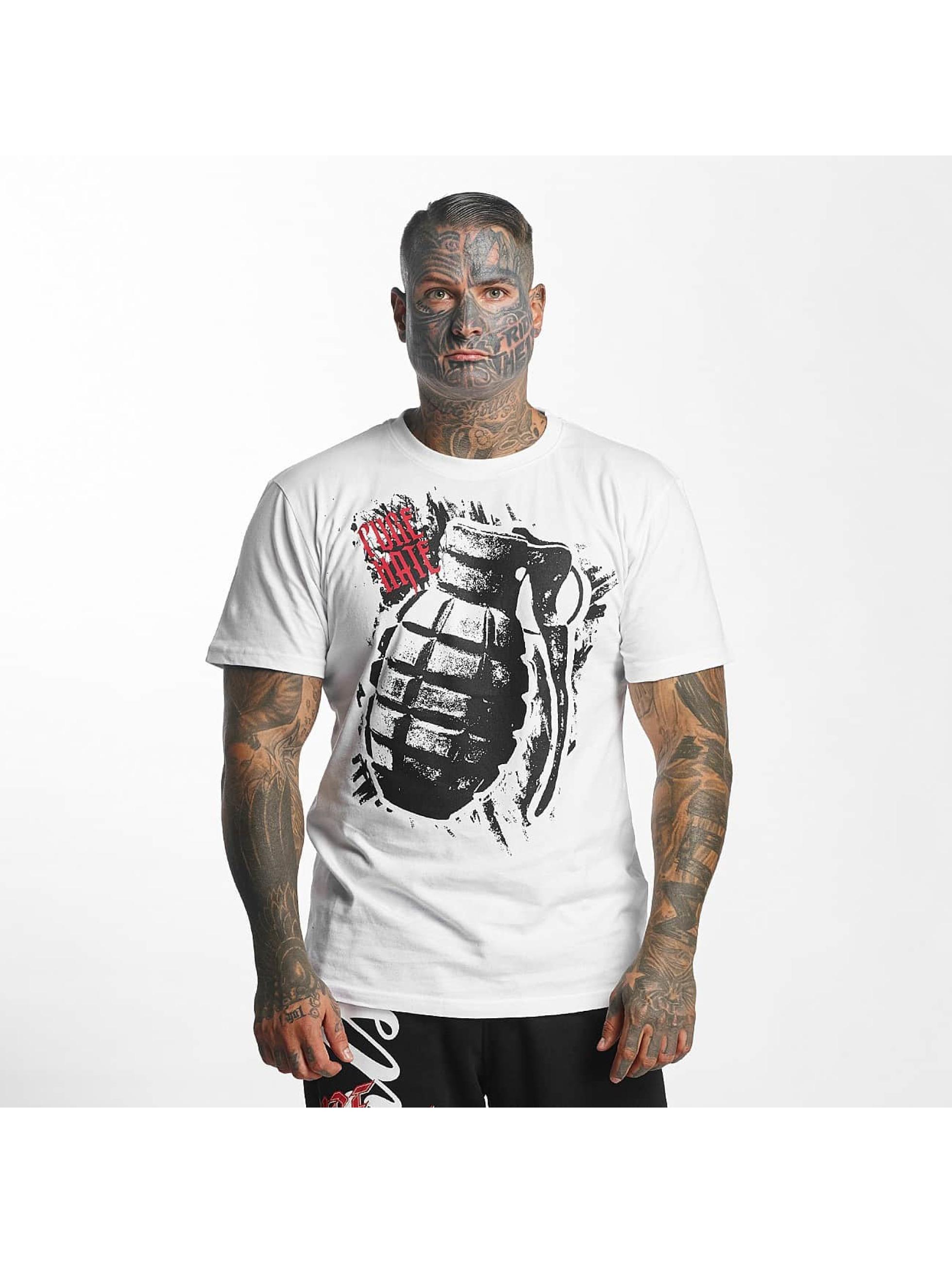 Pure Hate Männer T-Shirt Hand Grenade in weiß