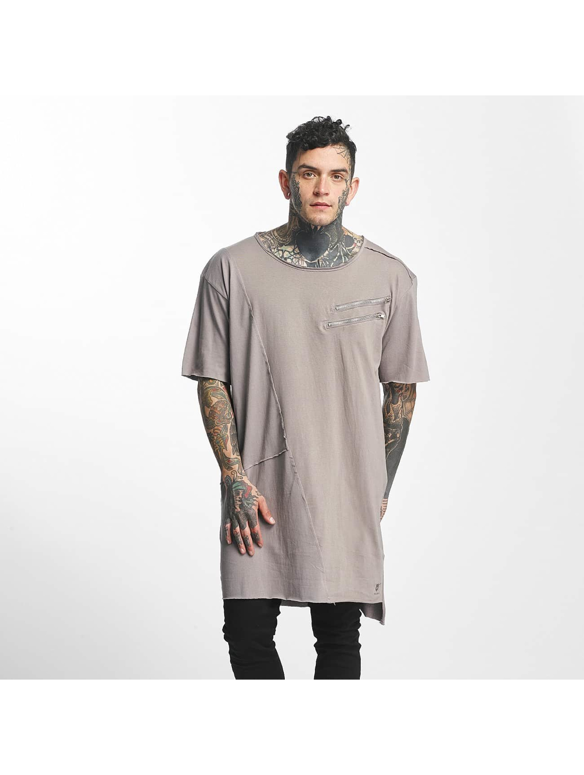 Tuffskull Männer Tall Tees Zipper in grau