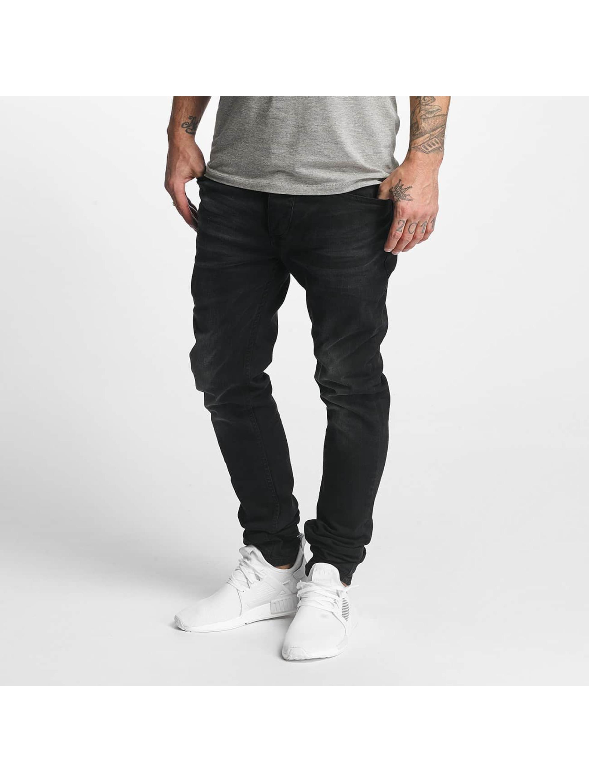 ID Denim Männer Straight Fit Jeans Skinny Low Rise Tapered Leg in schwarz