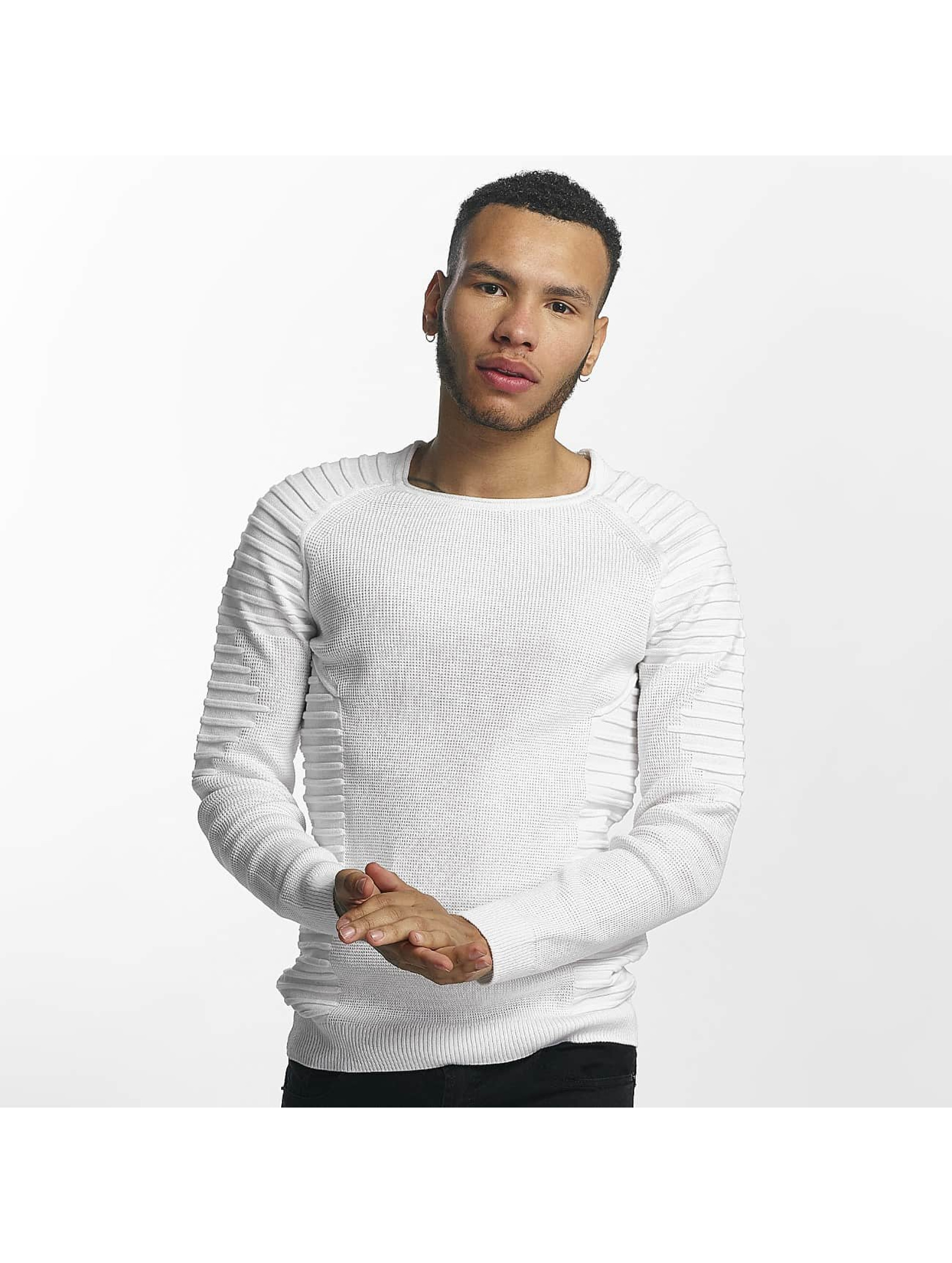 John H Männer Pullover Knit Ribbed in weiß
