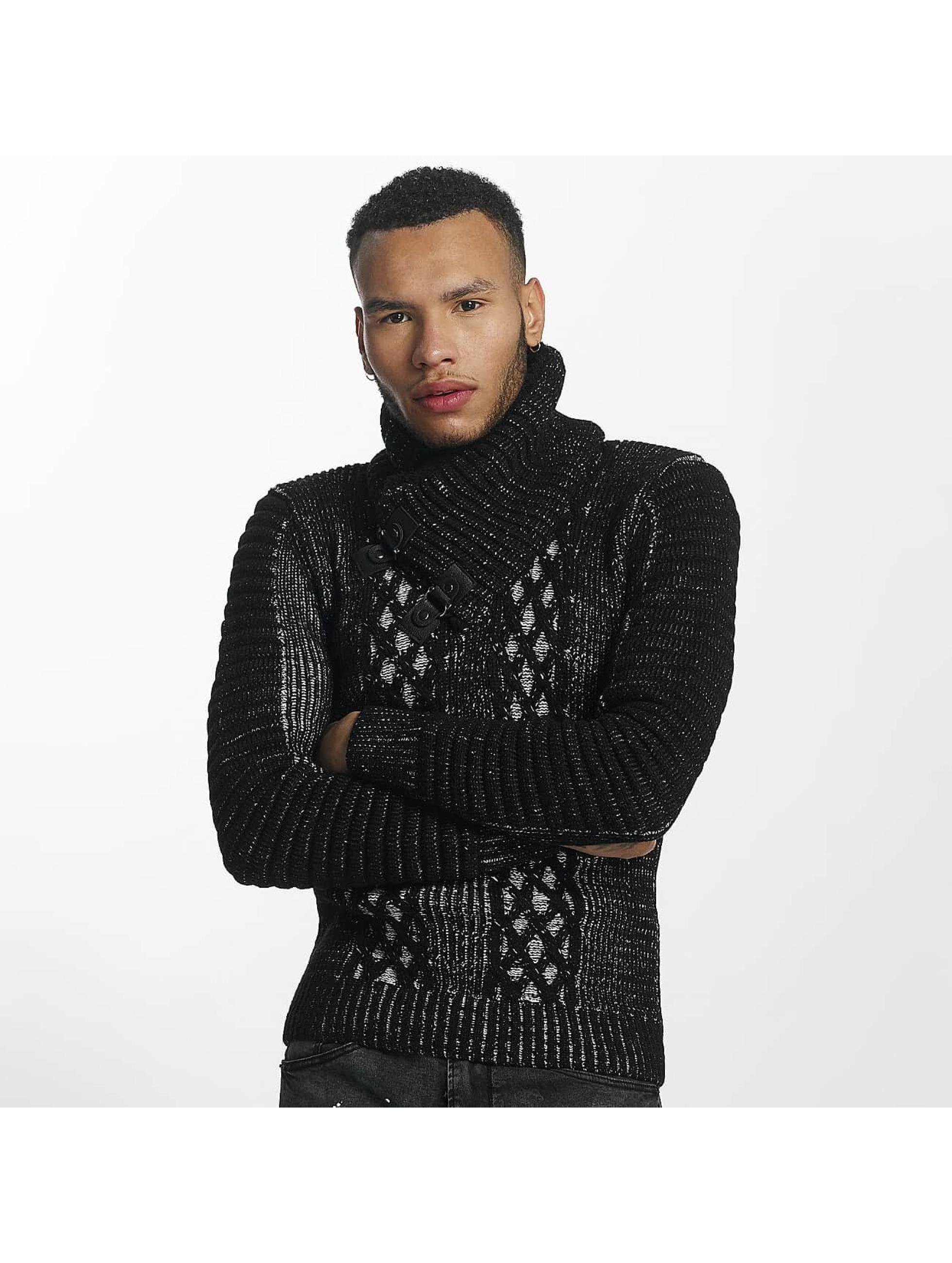 John H Männer Pullover Knit in schwarz