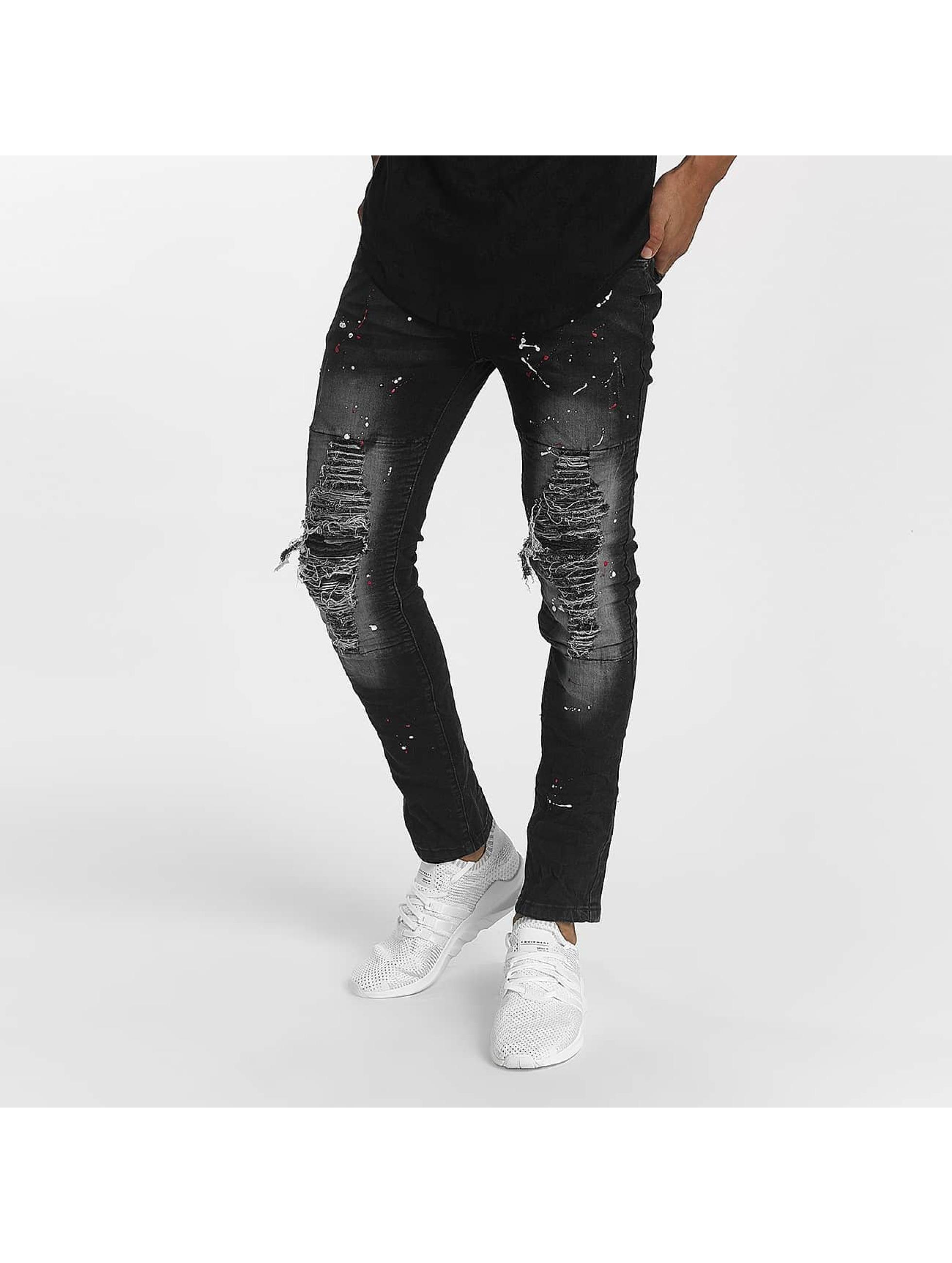 John H Männer Straight Fit Jeans Color Blobs in schwarz