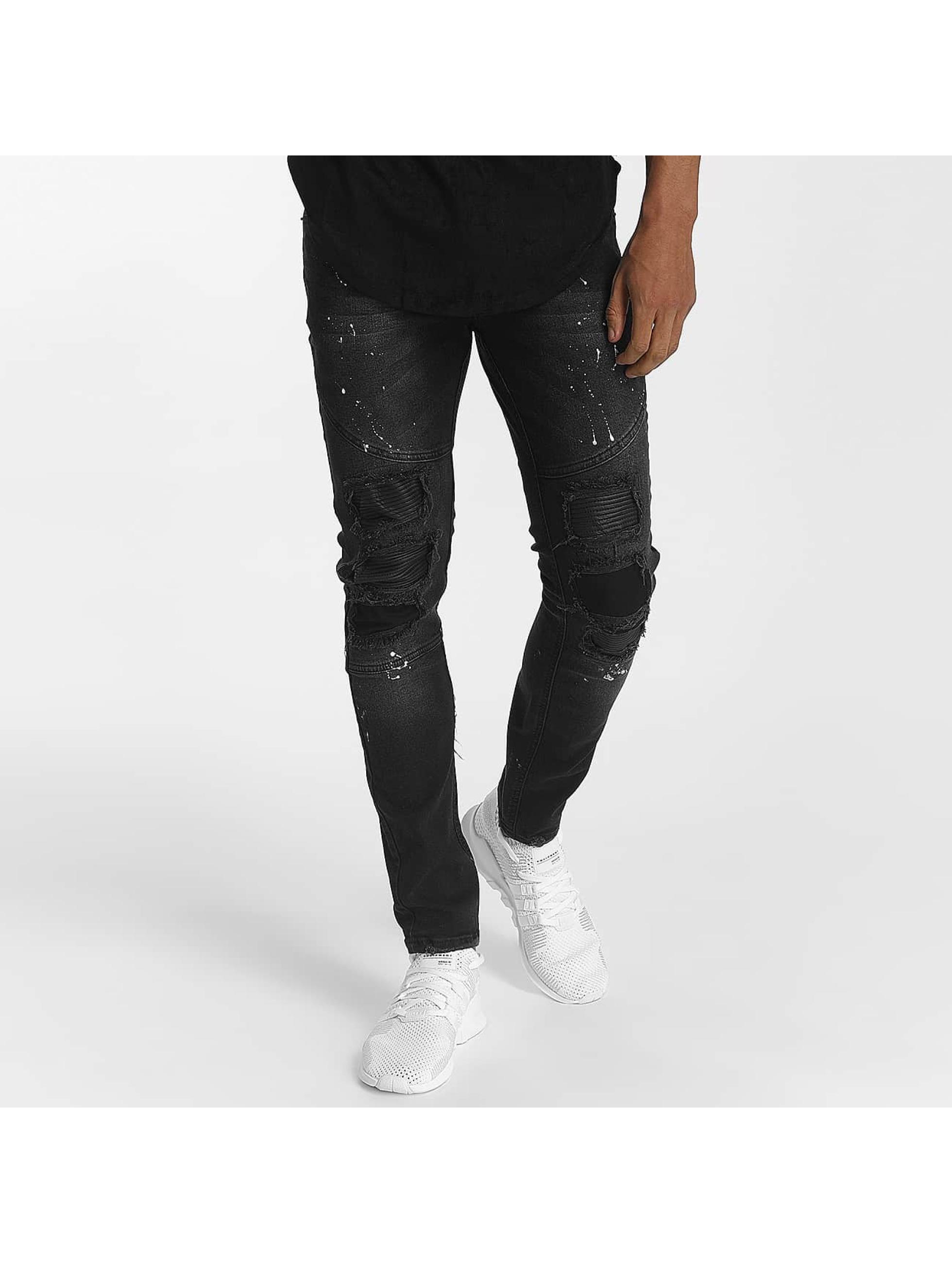 John H Männer Straight Fit Jeans Diagonal Splatters in schwarz
