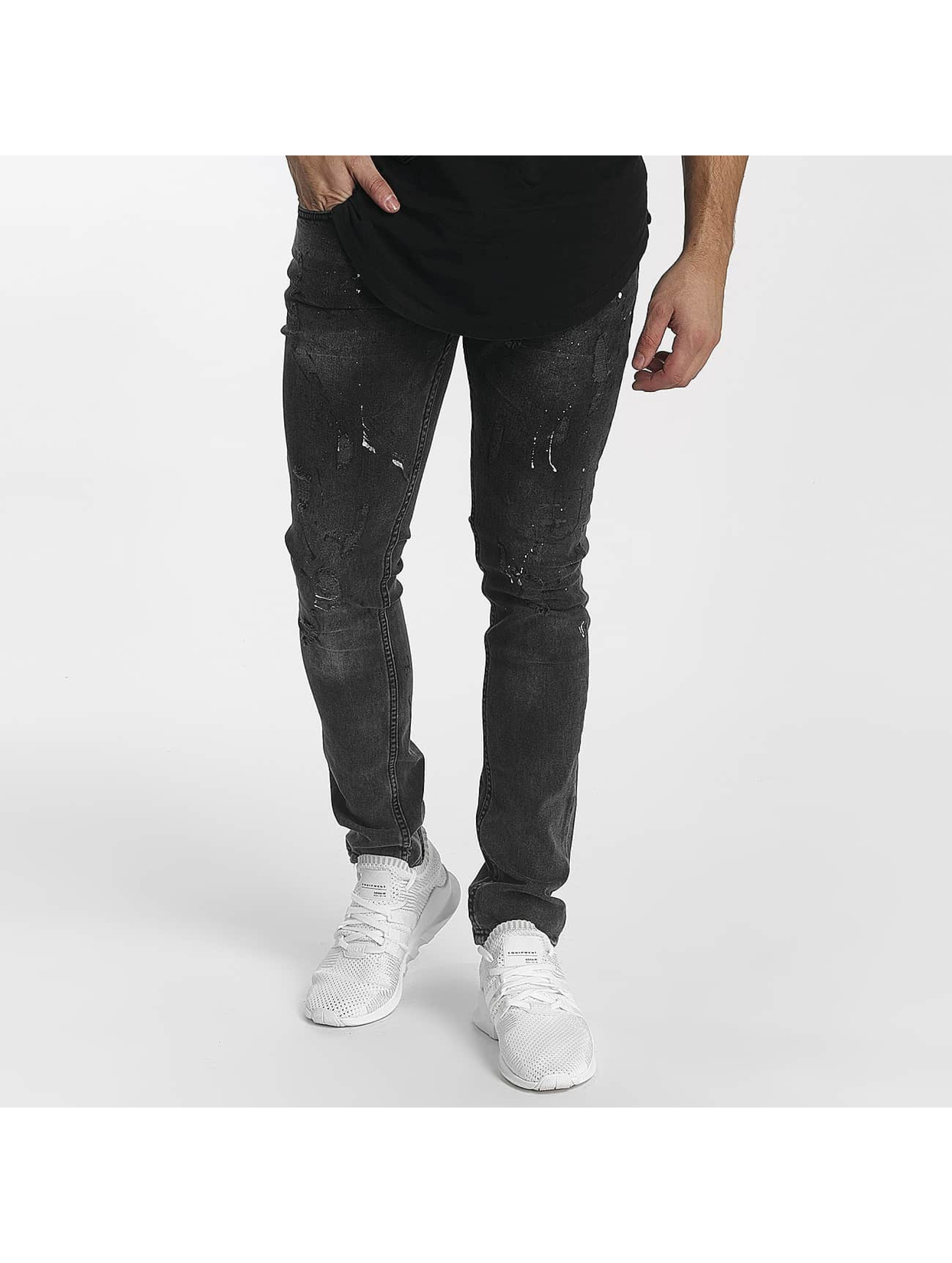 John H Männer Skinny Jeans Diagonal Splatters in schwarz