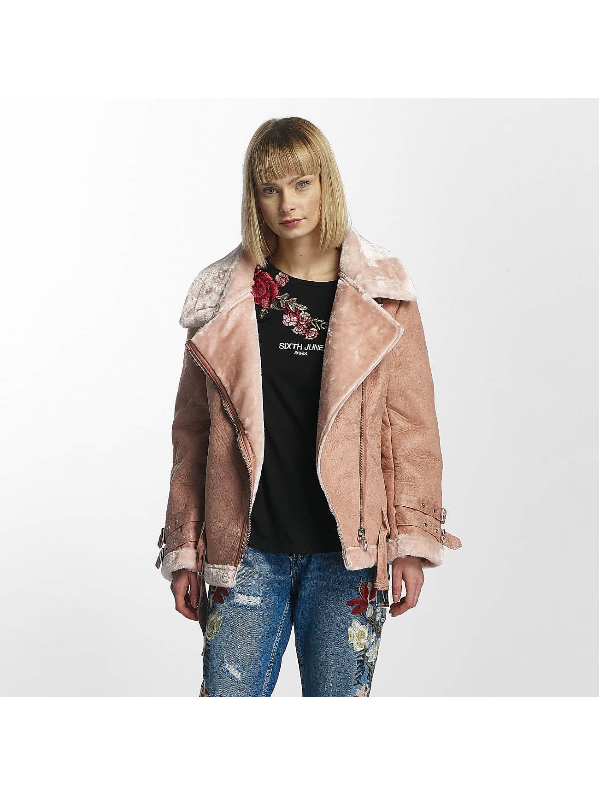 Sixth June Frauen Lederjacke Perfecto Fur in rosa