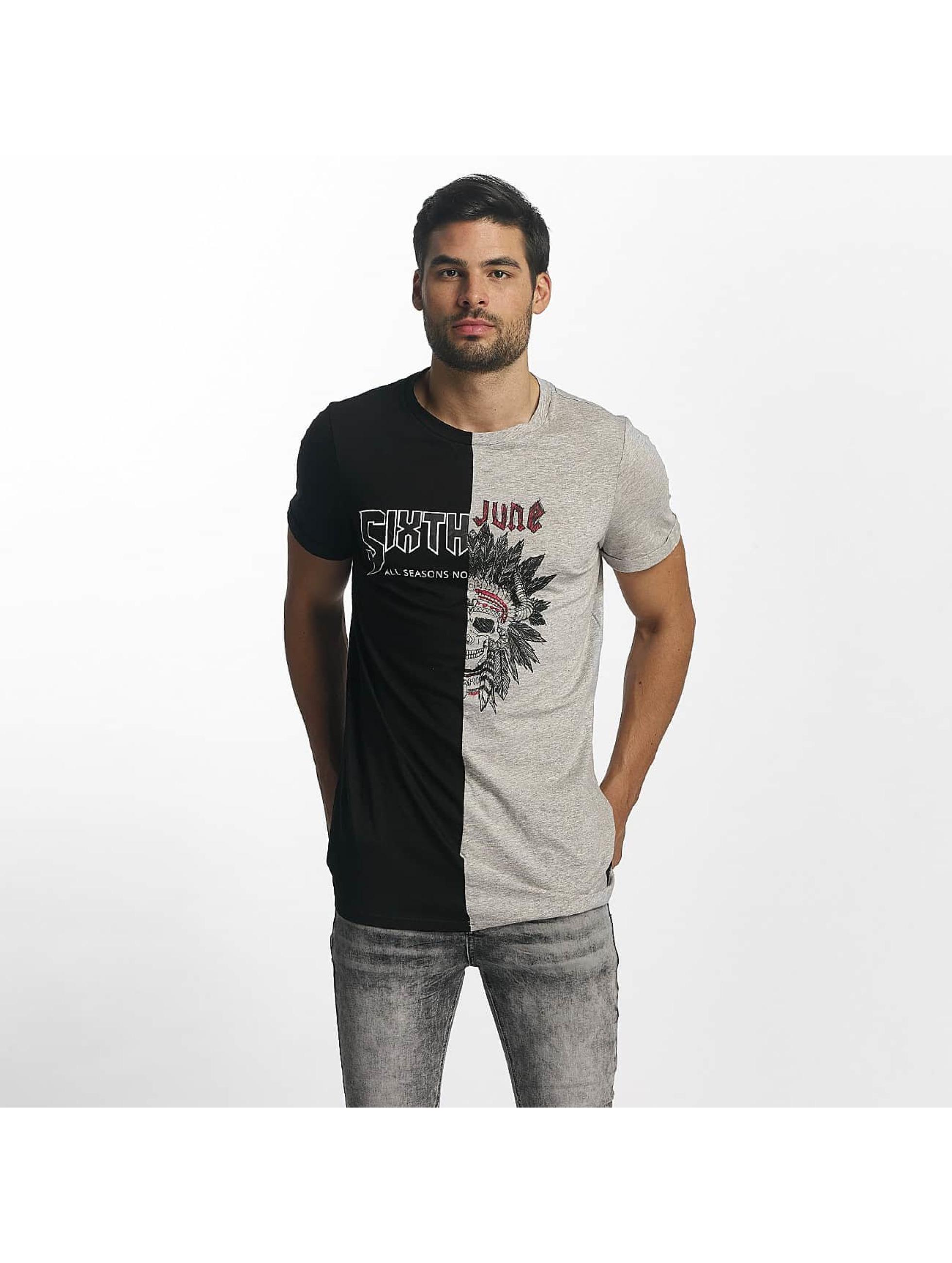 Sixth June Männer T-Shirt Assymetric in schwarz