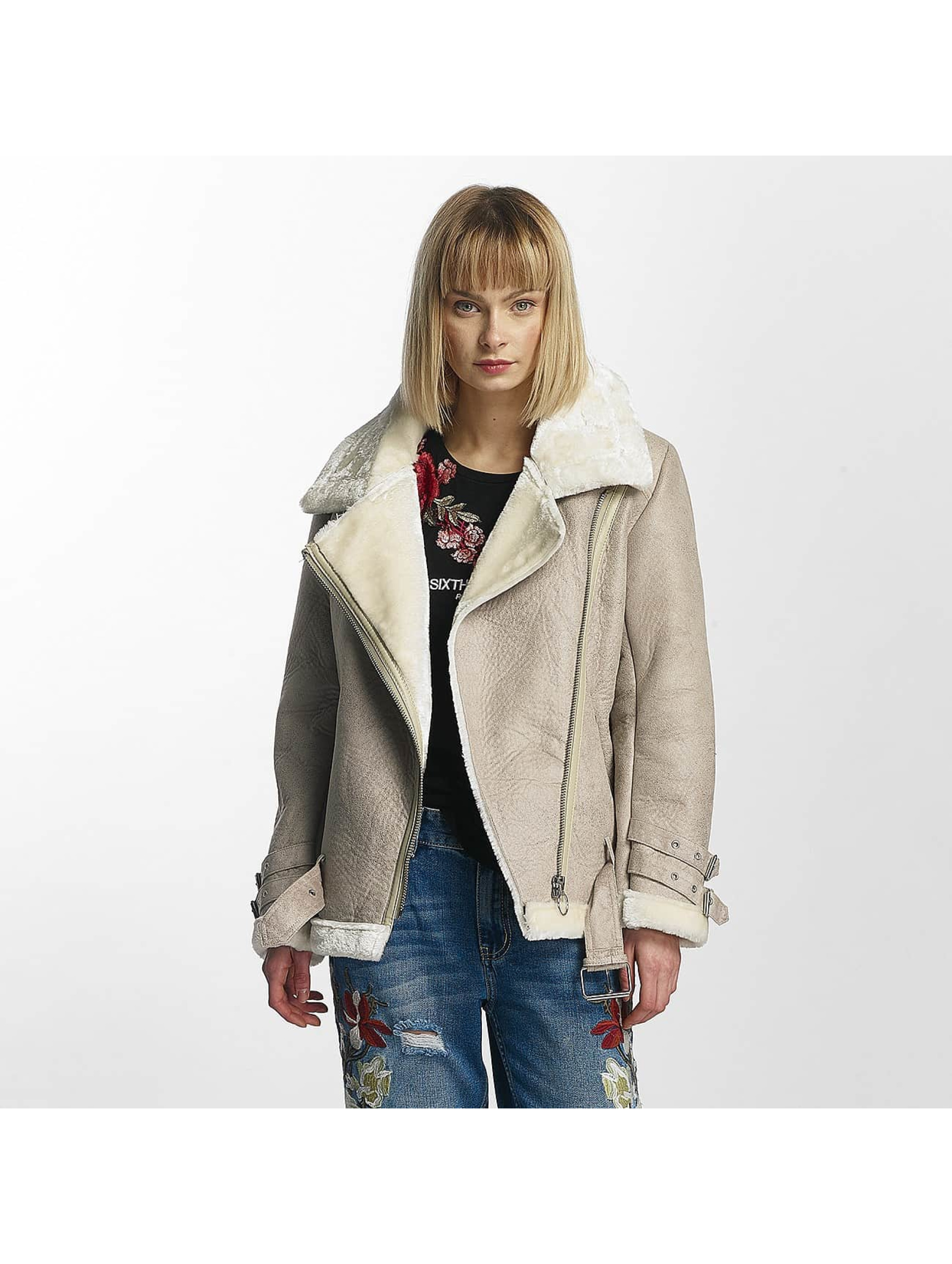 Sixth June Frauen Lederjacke Perfecto Fur in beige