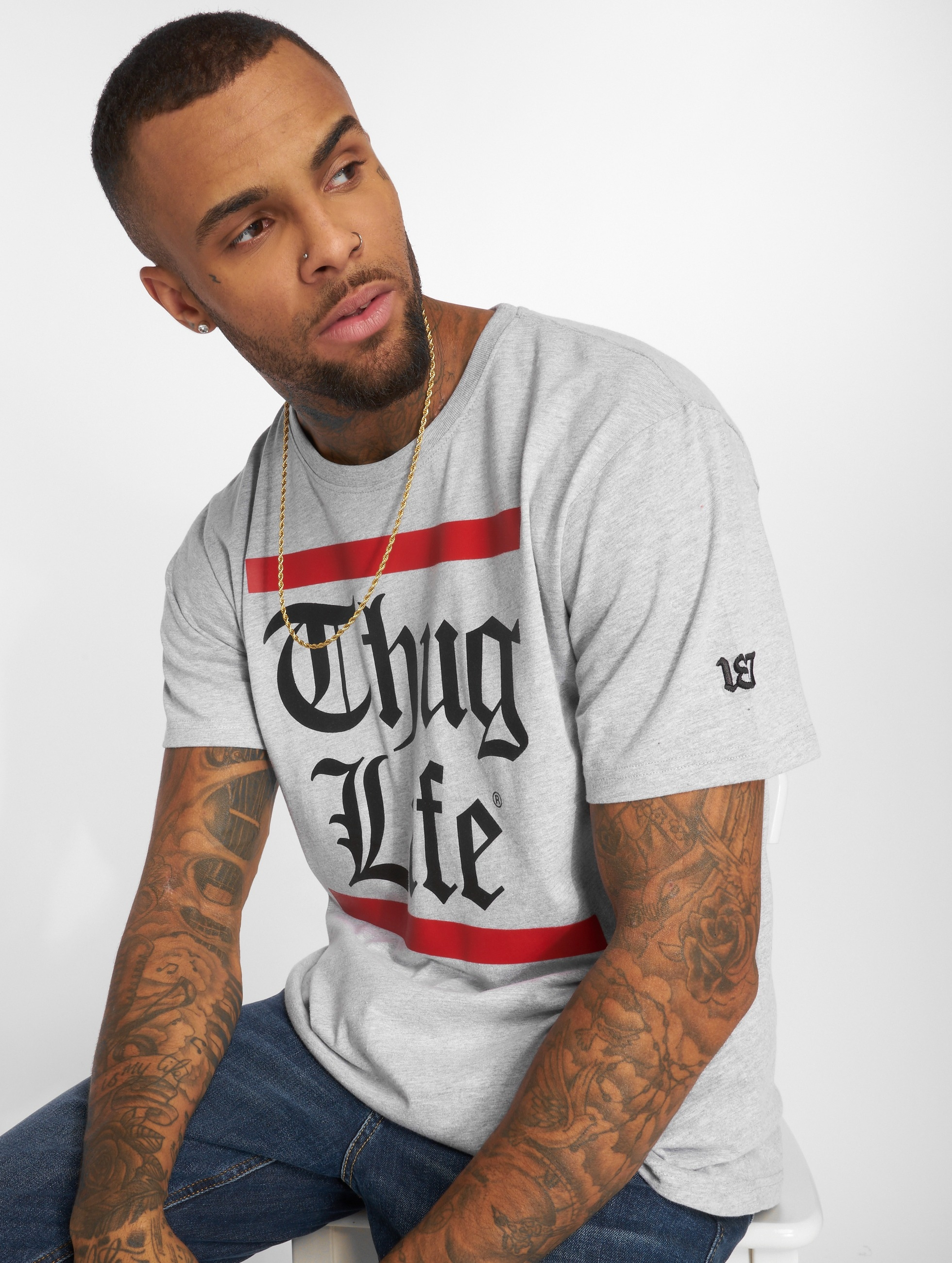 Thug Life / T-Shirt B.Gothic in grey S