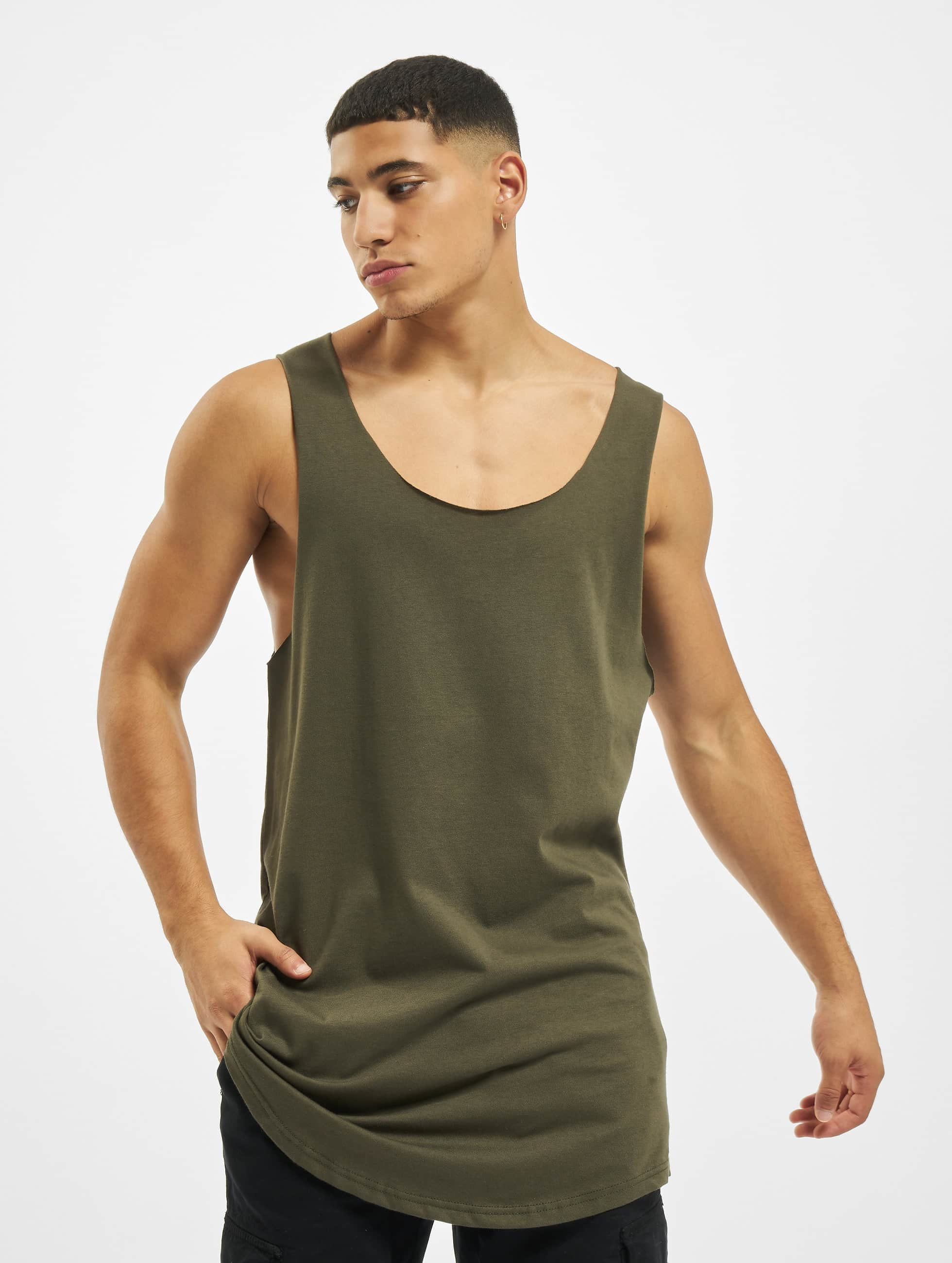 DEF / Tank Tops Basic in olive 2XL