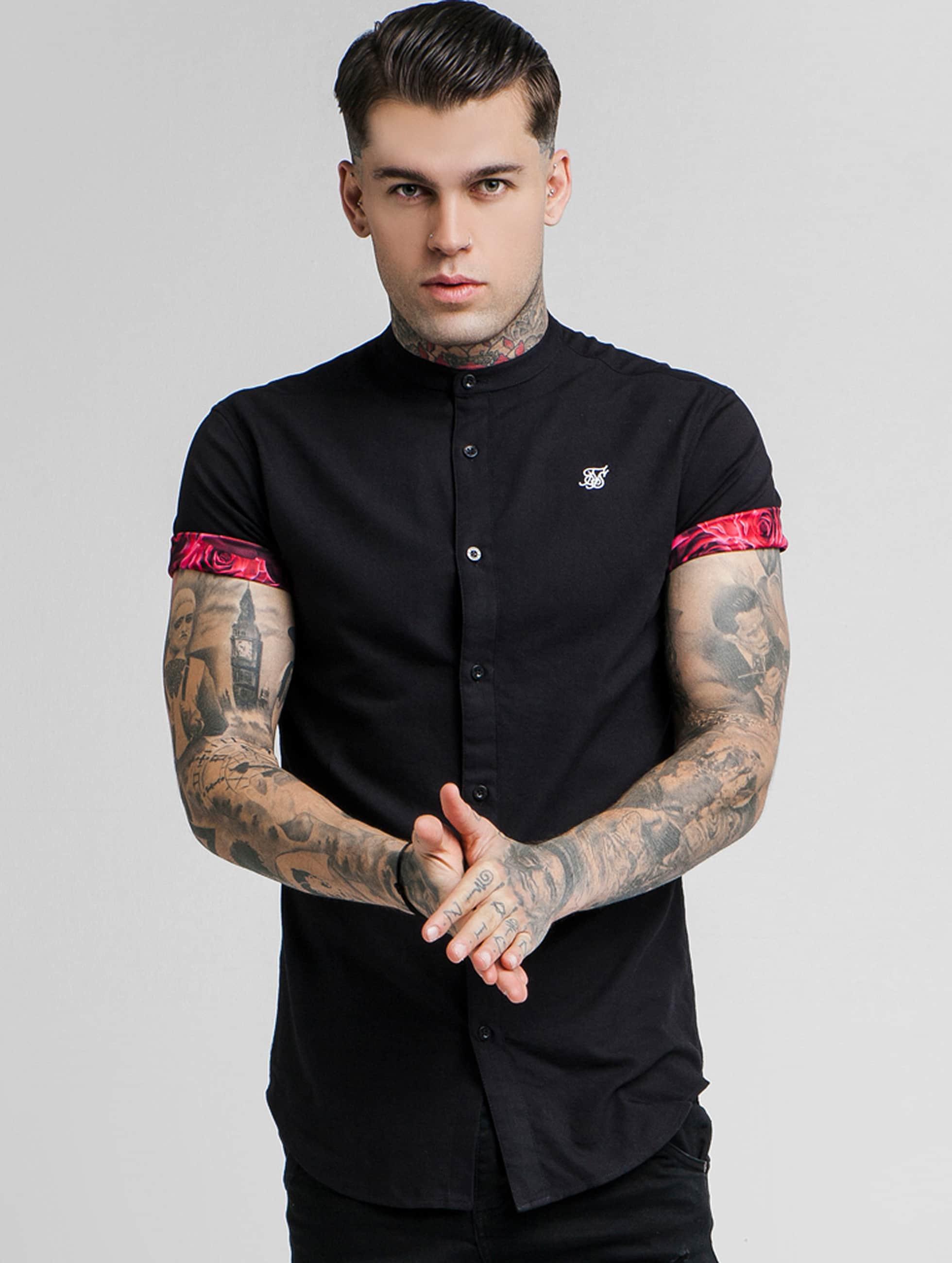 Sik Silk   Grandad Collar Roll Sleeve noir Homme Chemise