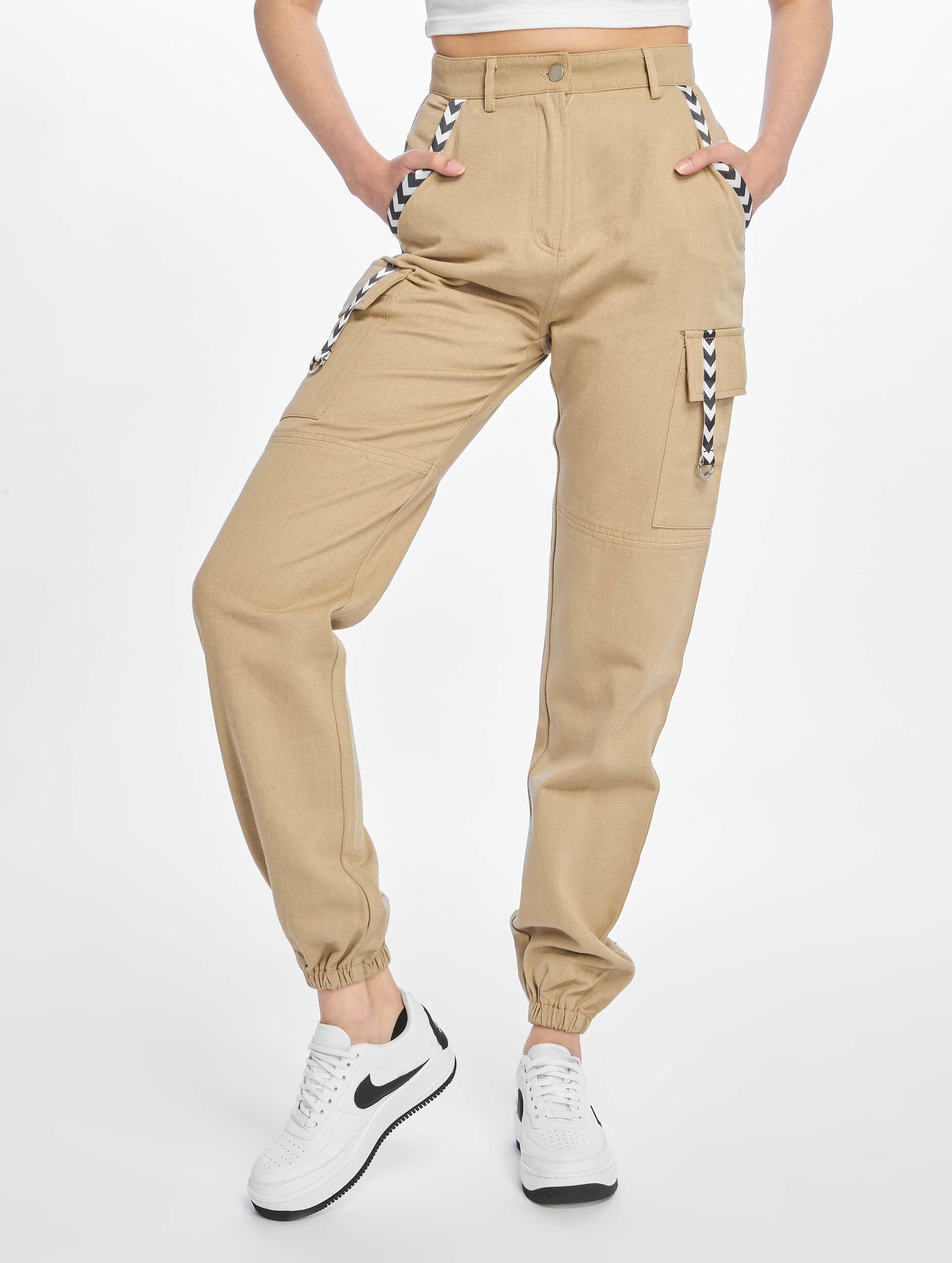 0d2bef37f2db1 Missguided | Sand Sports Tape beige Femme Pantalon cargo