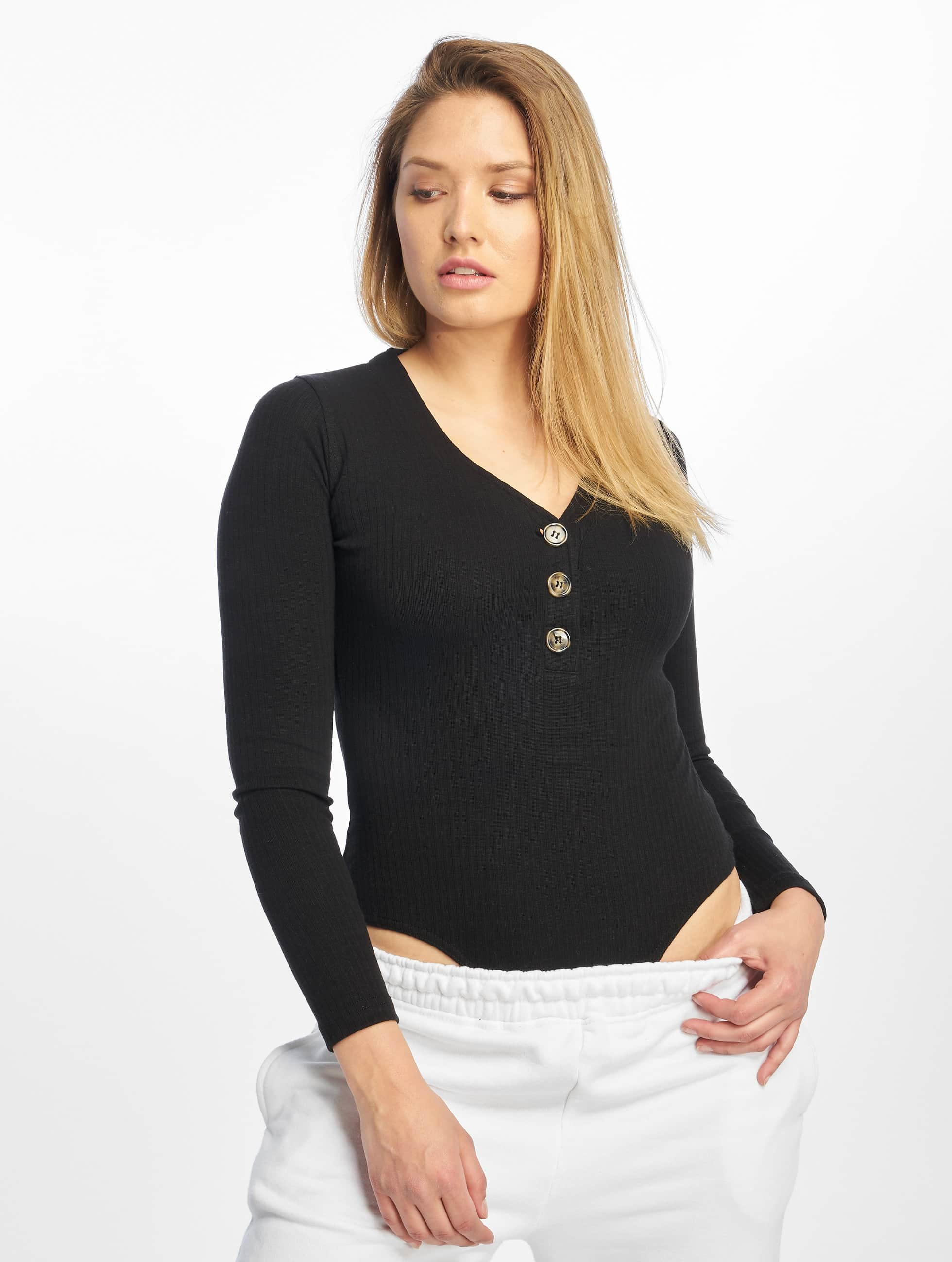 Missguided | Horn Button Rib Plunge Ls  noir Femme Body