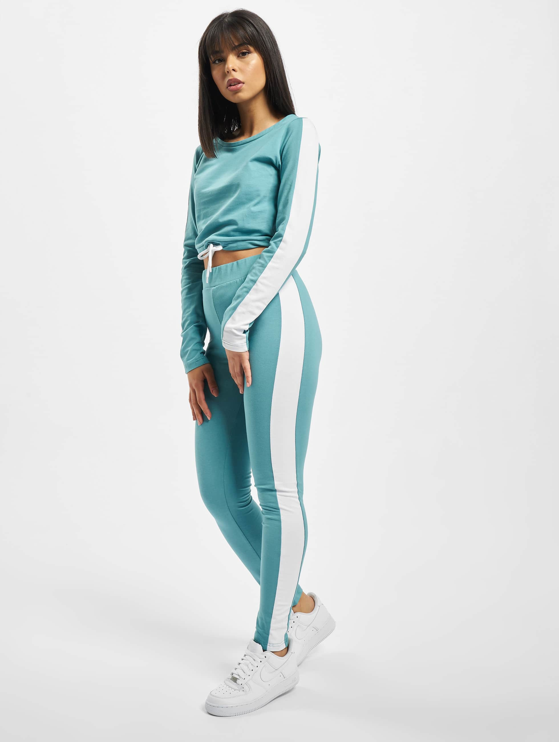 DEF / Suits Striped in turquoise XS