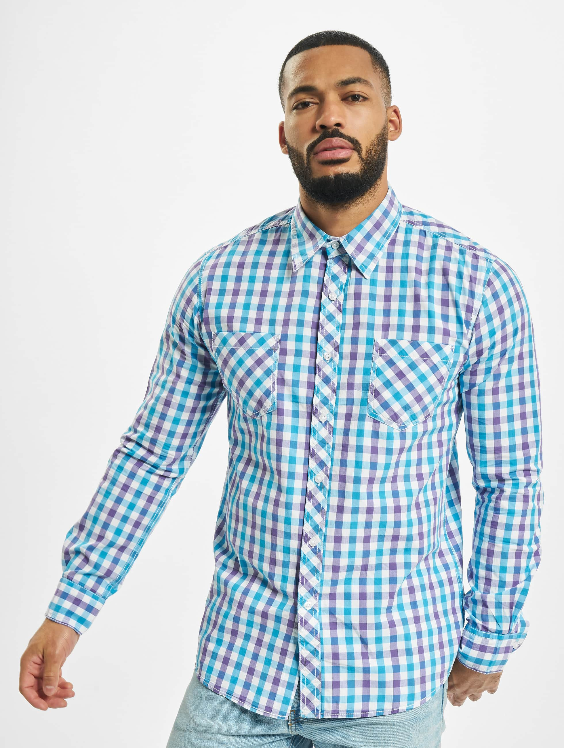 Urban Classics Tricolor Big Checked Shirt Purple/White/Turquoise Sale Angebote Senftenberg
