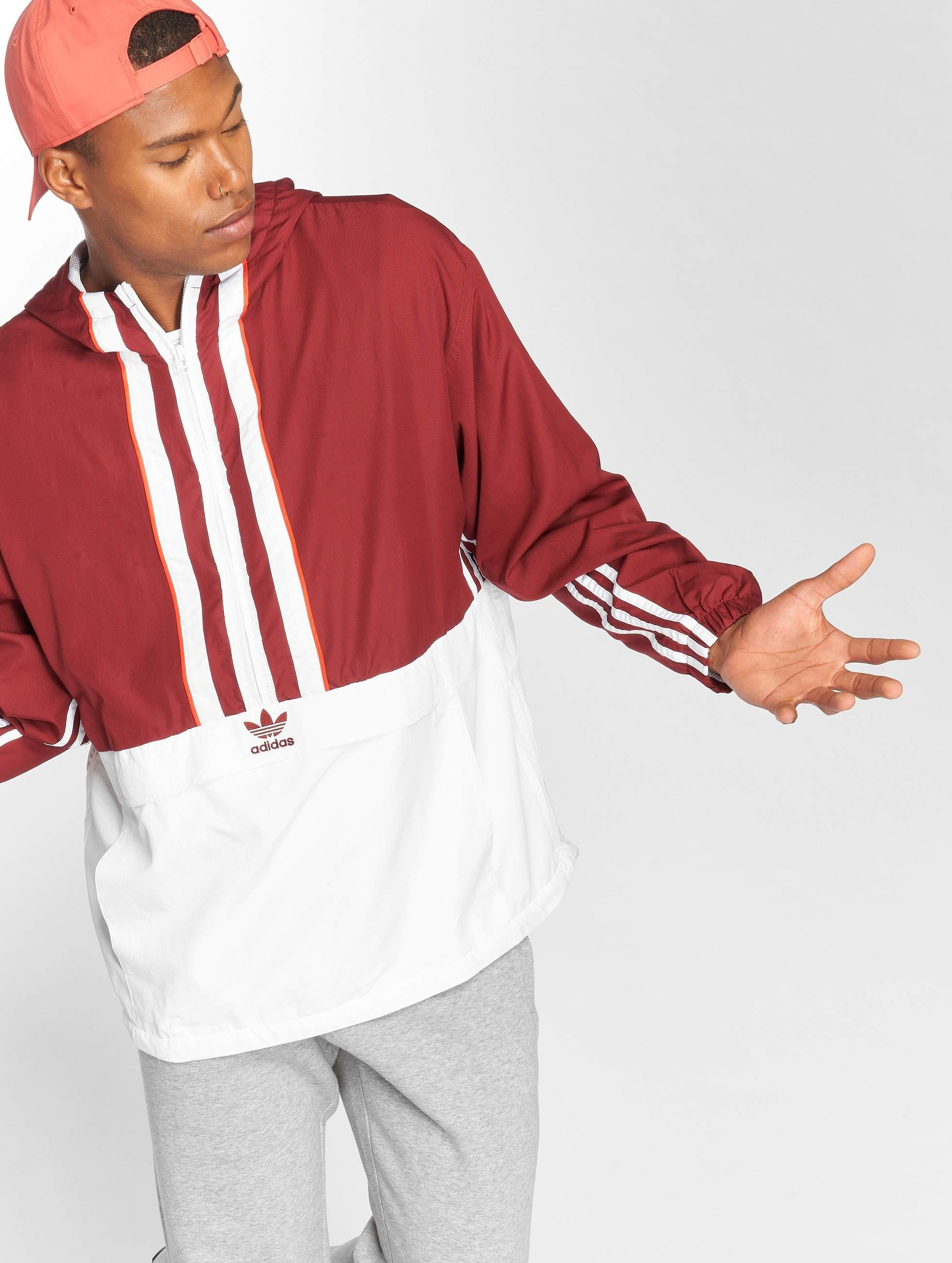 new appearance popular brand the best Auth Mi Homme Rouge Veste Adidas Originals Transition Anorak ...