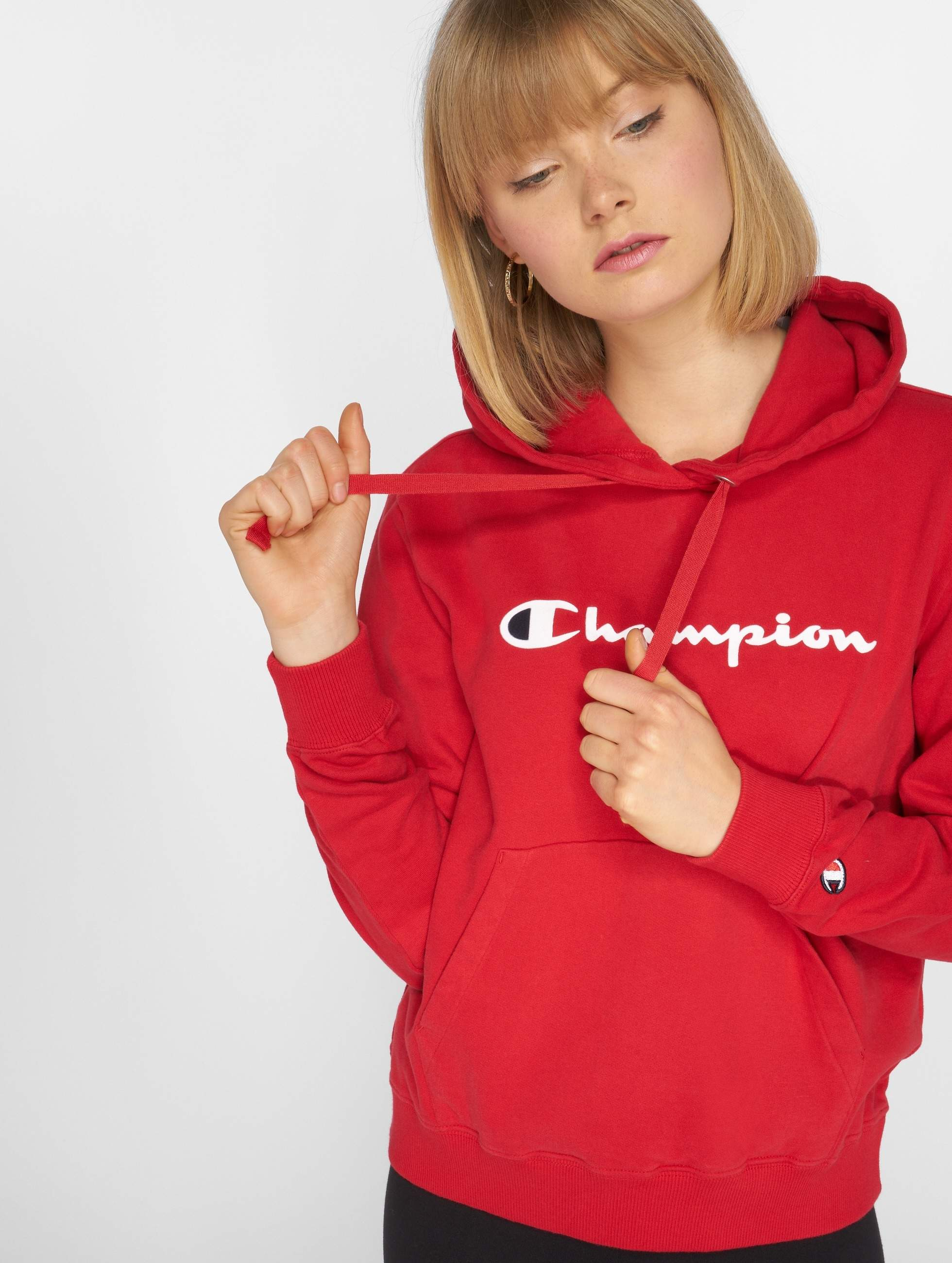 champion athletics logo rouge femme sweat capuche 529244. Black Bedroom Furniture Sets. Home Design Ideas