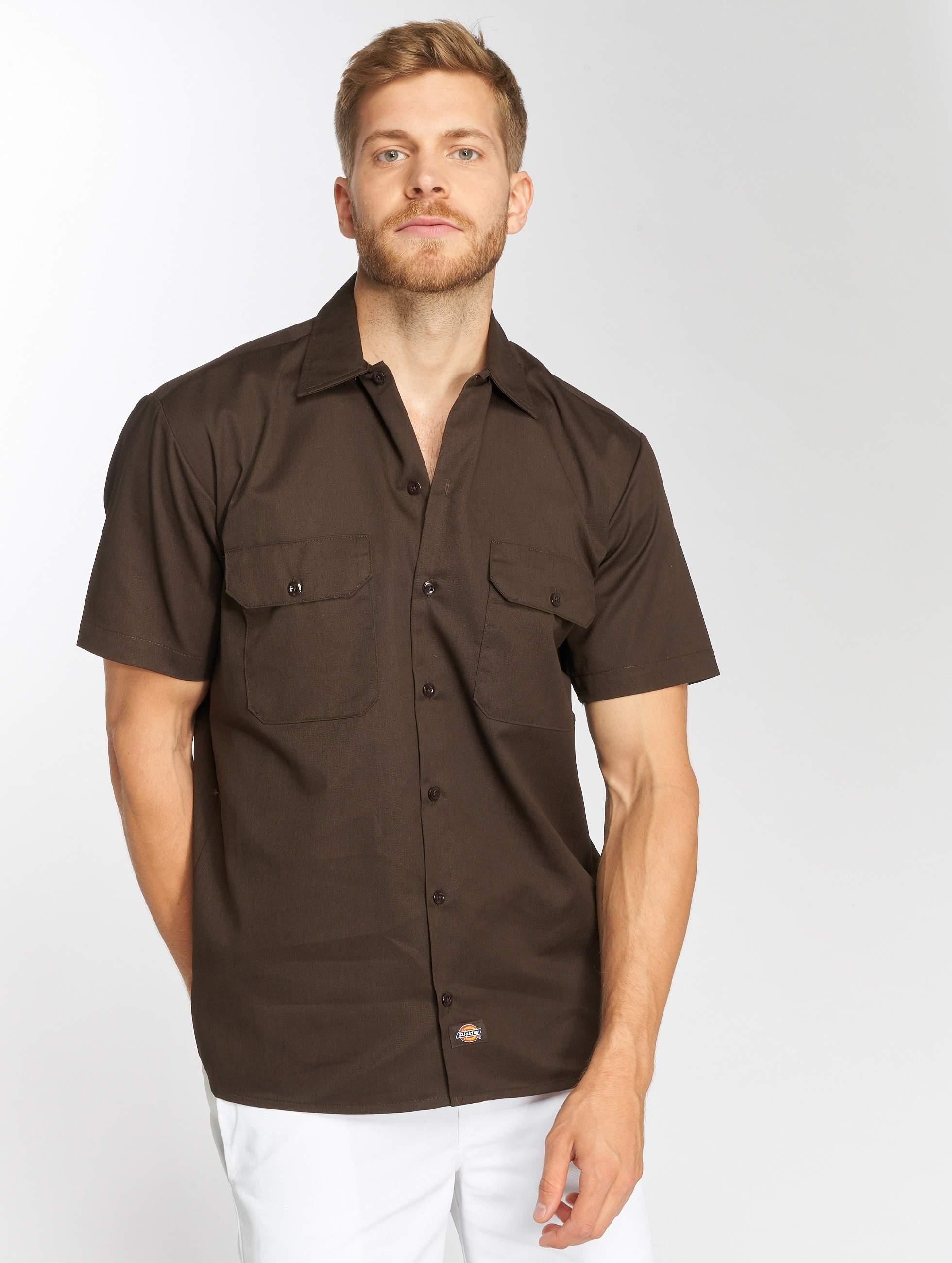 Bruin Overhemd.Dickies Bovenstuk Overhemd Shorts Sleeve Work In Bruin 50130