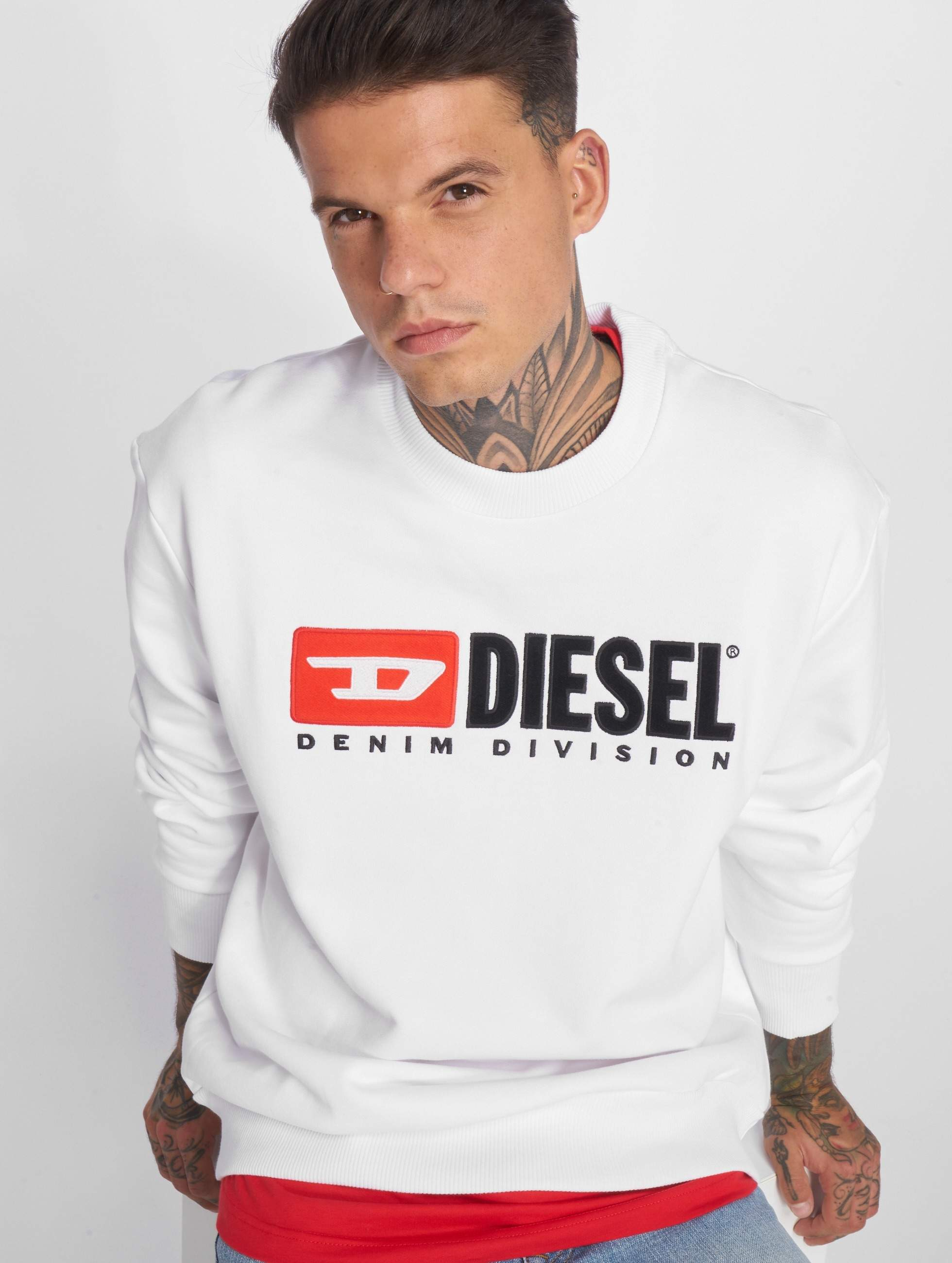 diesel herren pullover s crew division in wei 533534. Black Bedroom Furniture Sets. Home Design Ideas