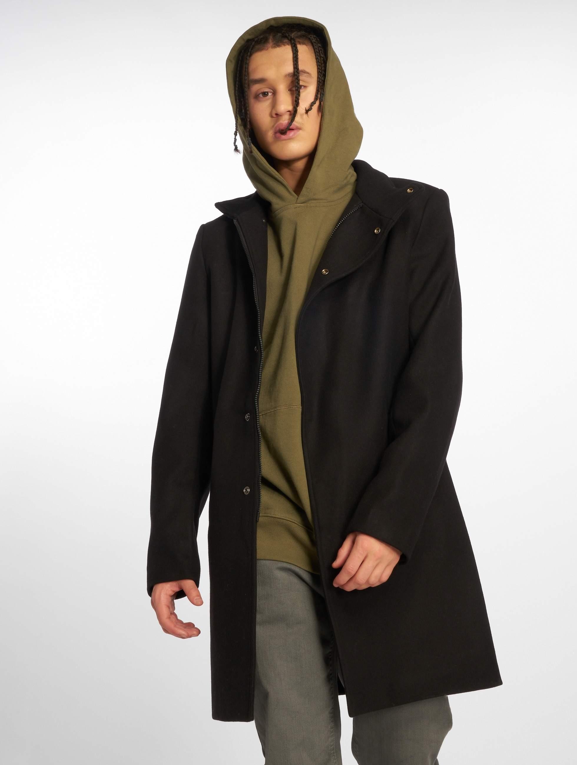 Veste cuir noir col fourrure