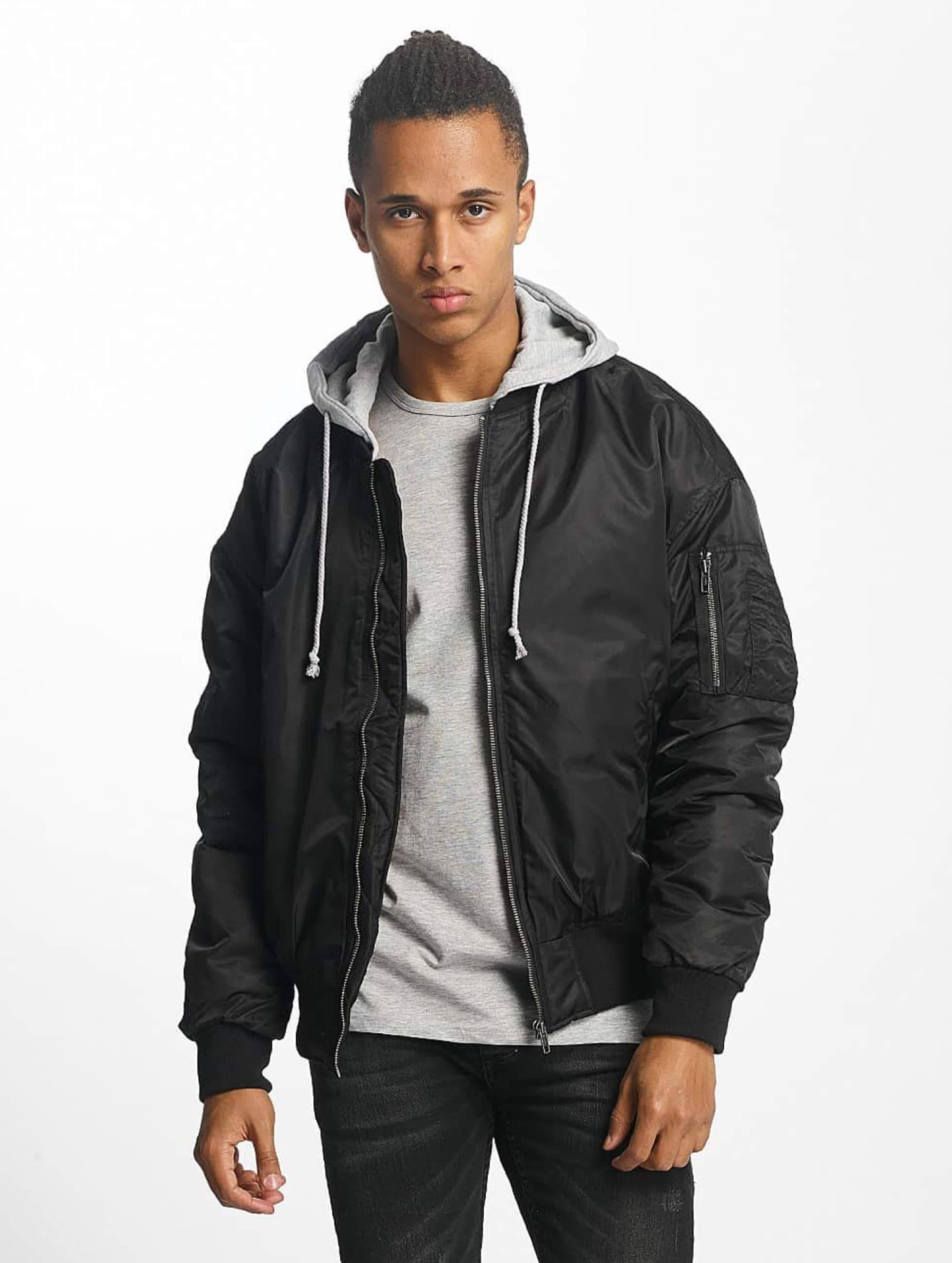 Urban Classics Hooded Oversized Bomber Jacket BlackGrey