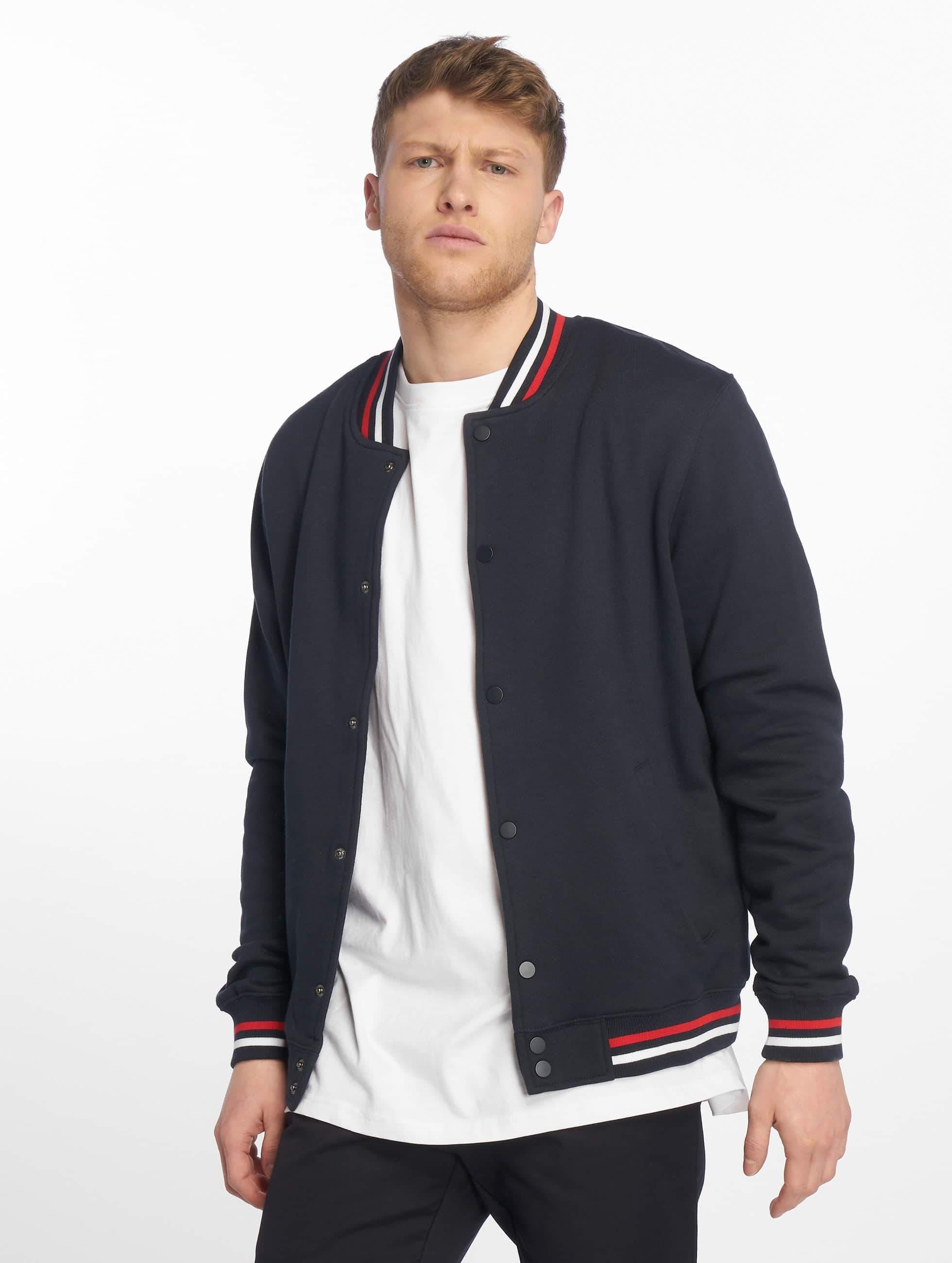 Urban Classics 3 Tone College Sweat Jacket NavyFire RedWhite