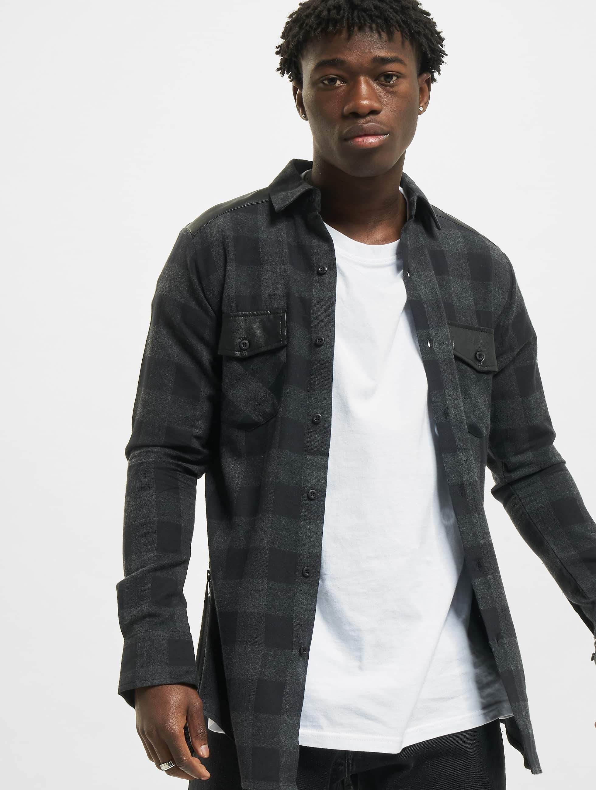 Urban Classics Side Zip Leather Shoulder Flanell Shirt BlackCharcoal