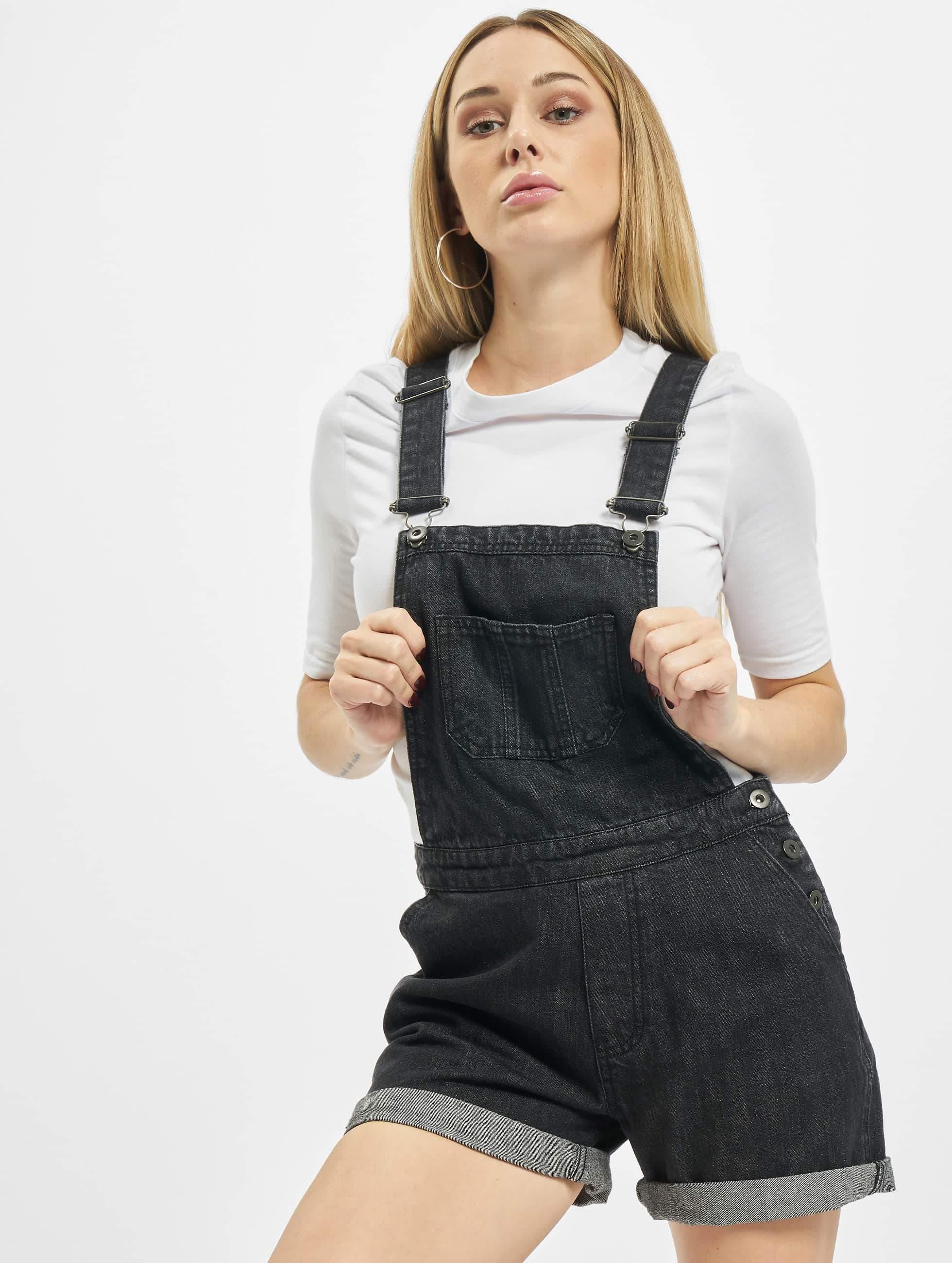 Urban Classics Ladies Short Dungaree Wash Black