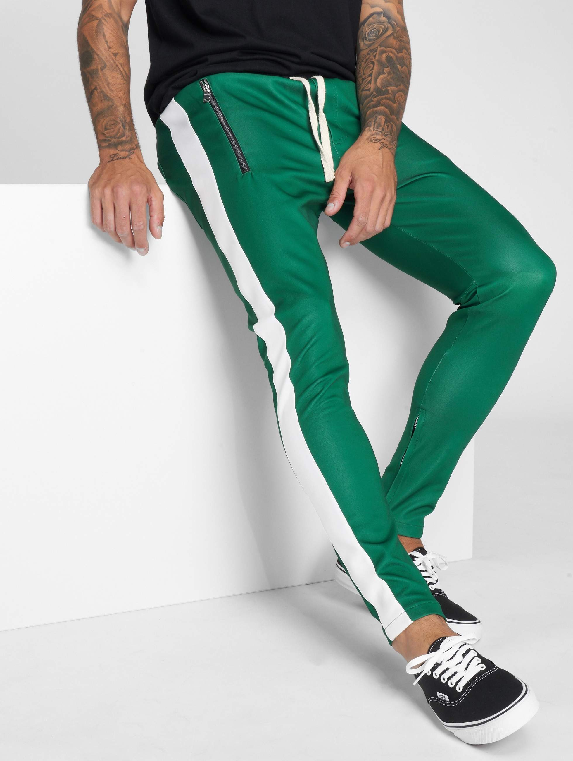 Joggingbroek Groen.Vsct Clubwear Broek Joggingbroek Stripe With Zip Pocket In Groen