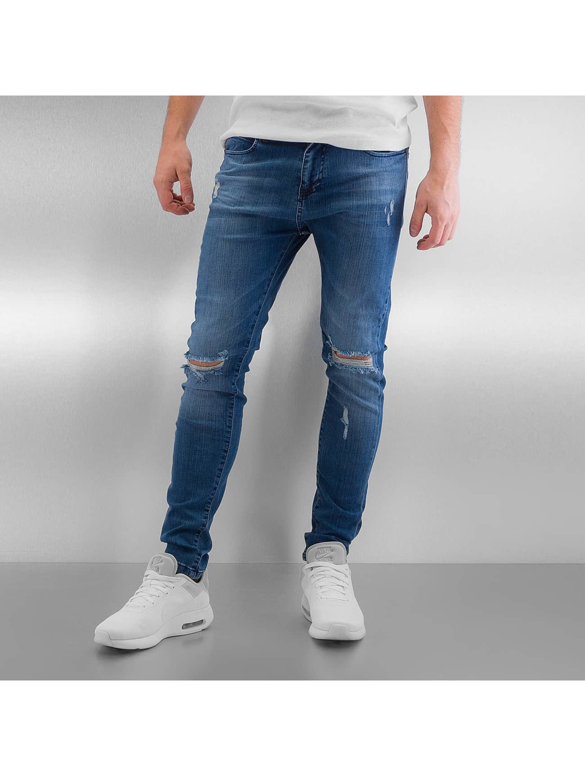 Skinny Jeans Destroyed in blau