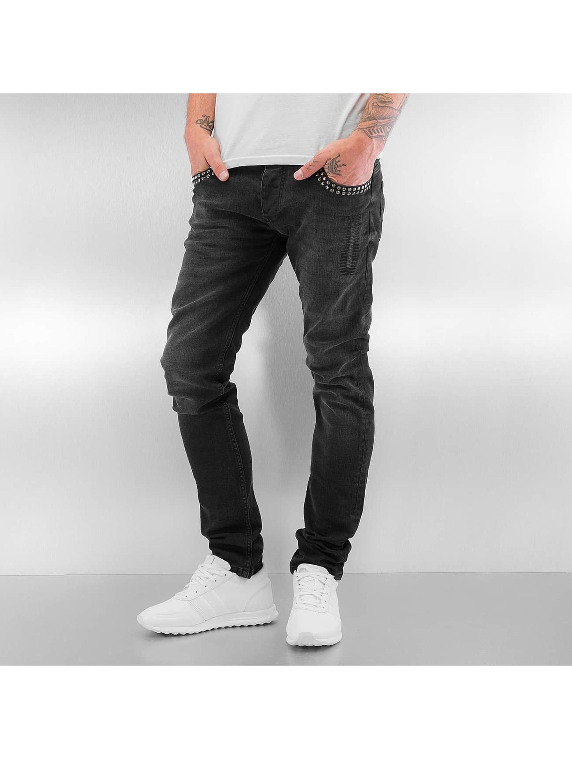 2Y Skinny Jeans Rivet schwarz