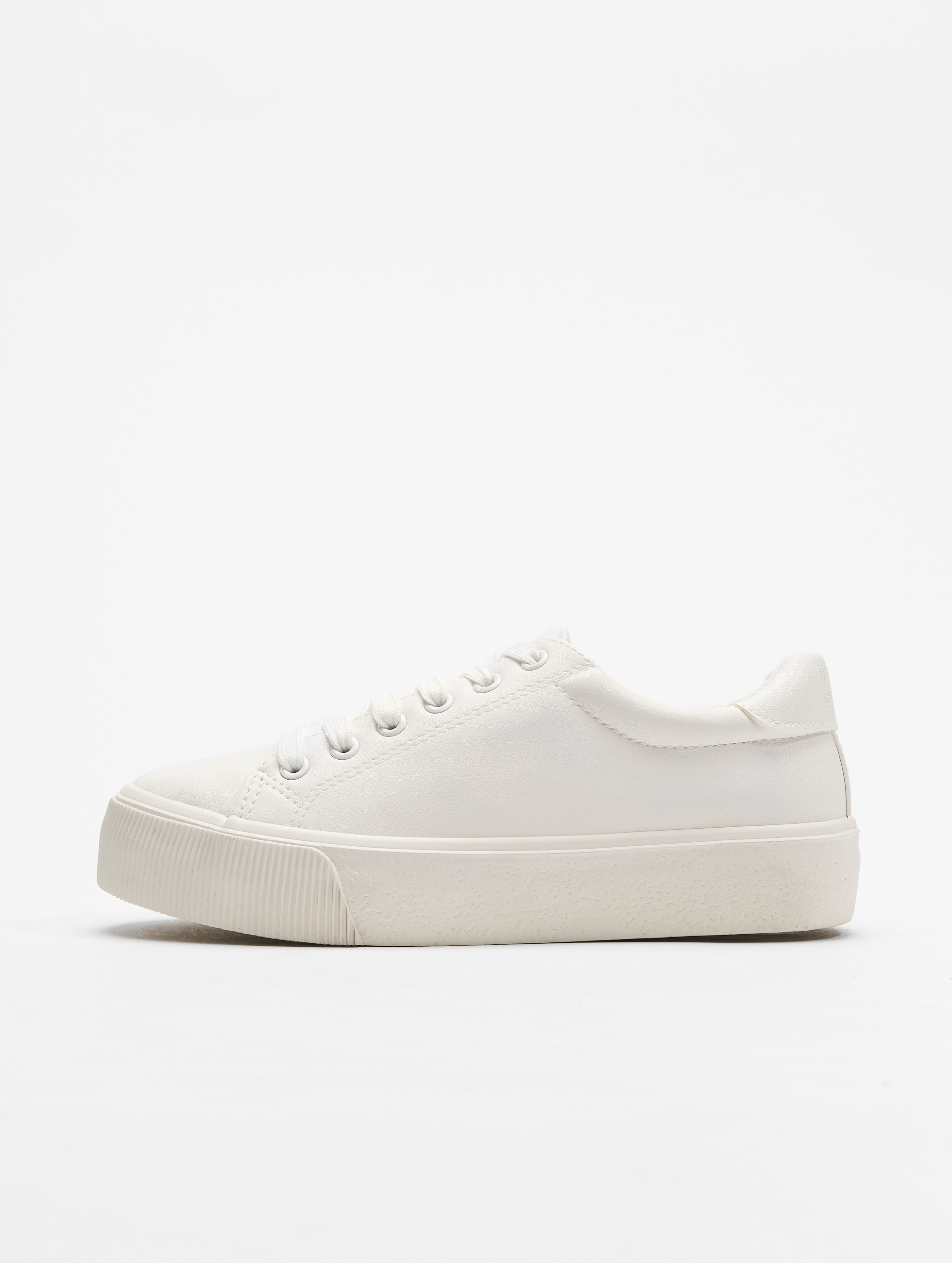 Weiße Plateau Sneaker mit Details