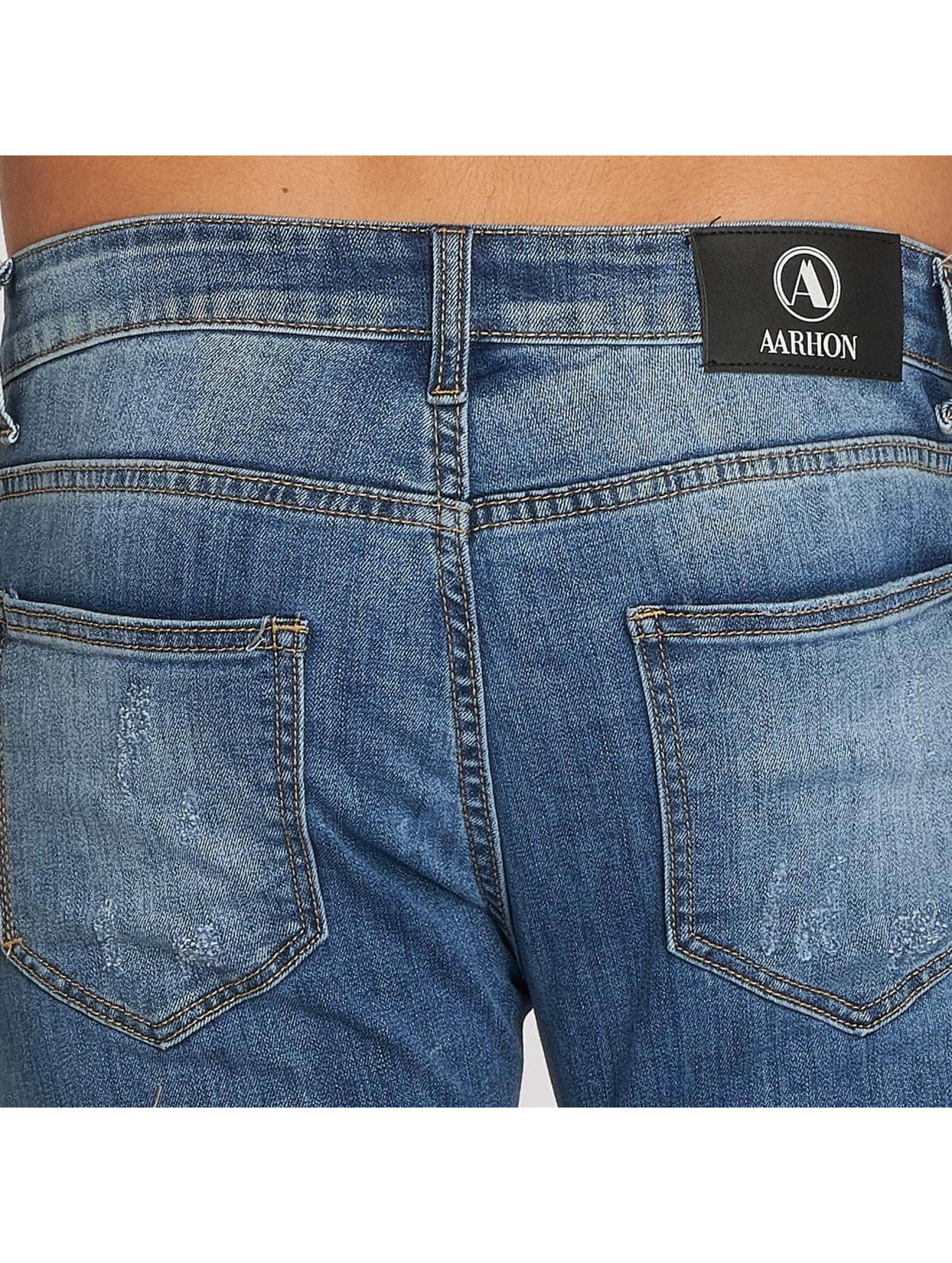 Aarhon Jean coupe droite Stripe bleu