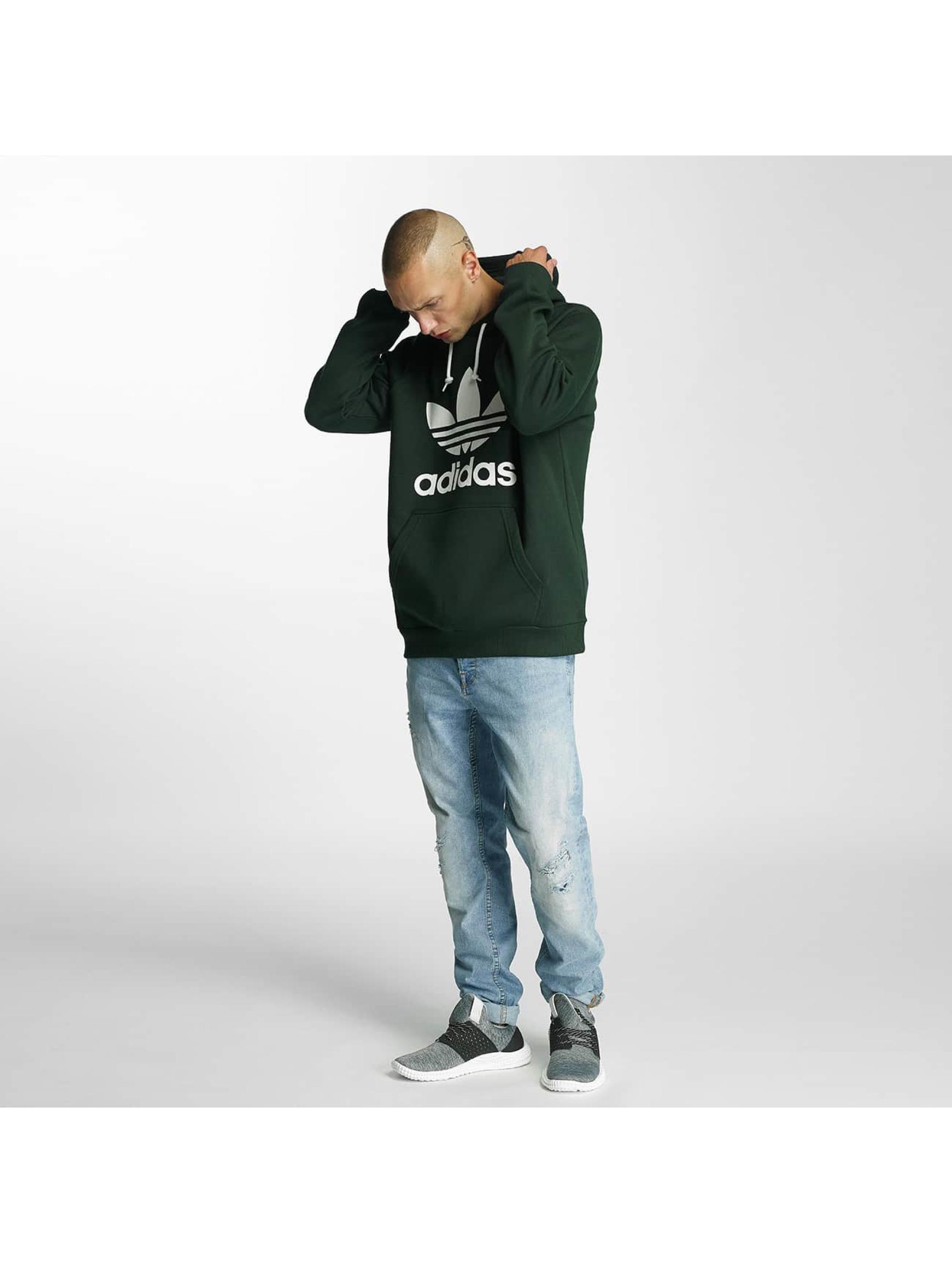 adidas Bluzy z kapturem Trefoil zielony