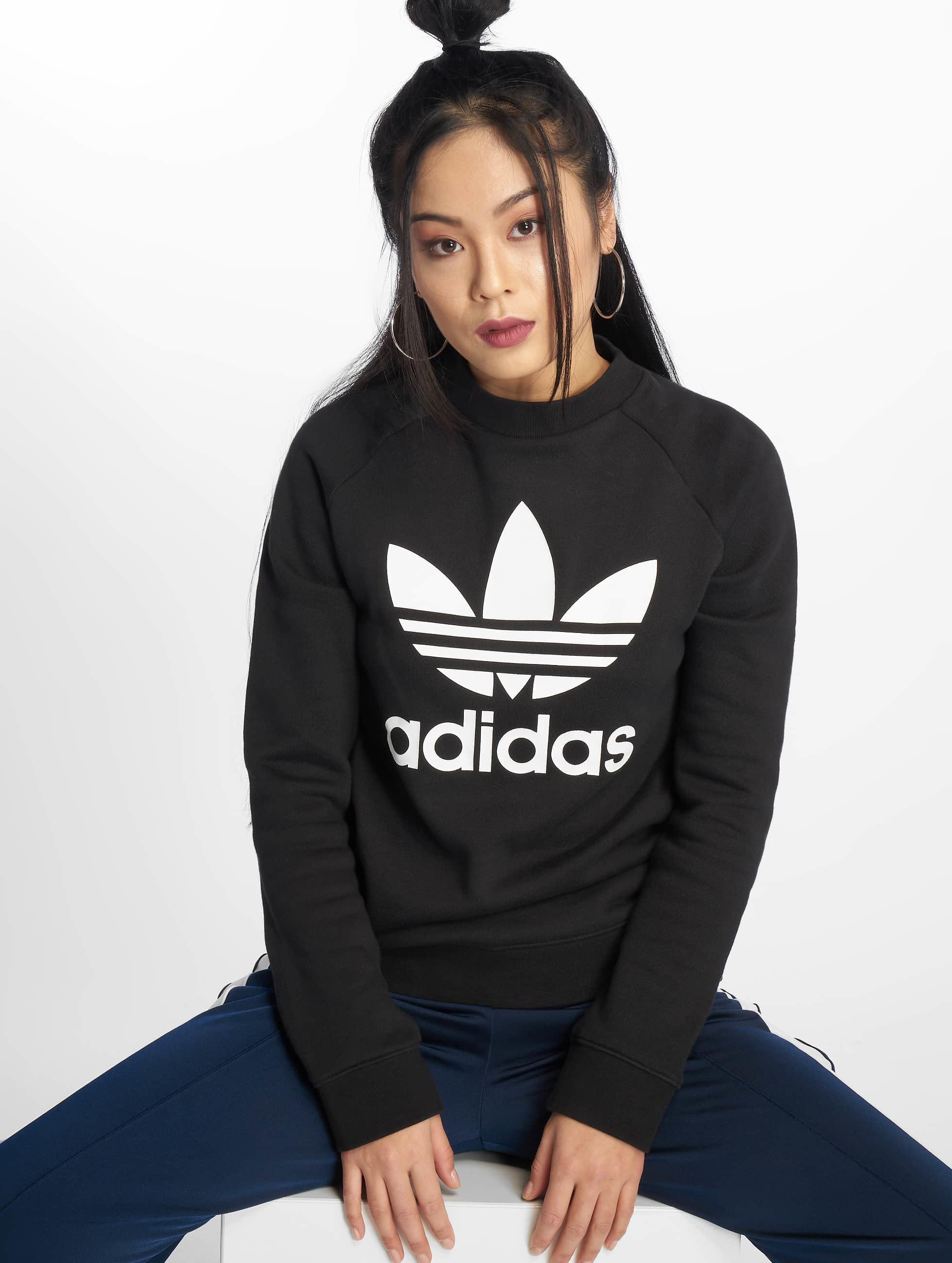 Sweat Trefoil Noir Femme Adidas