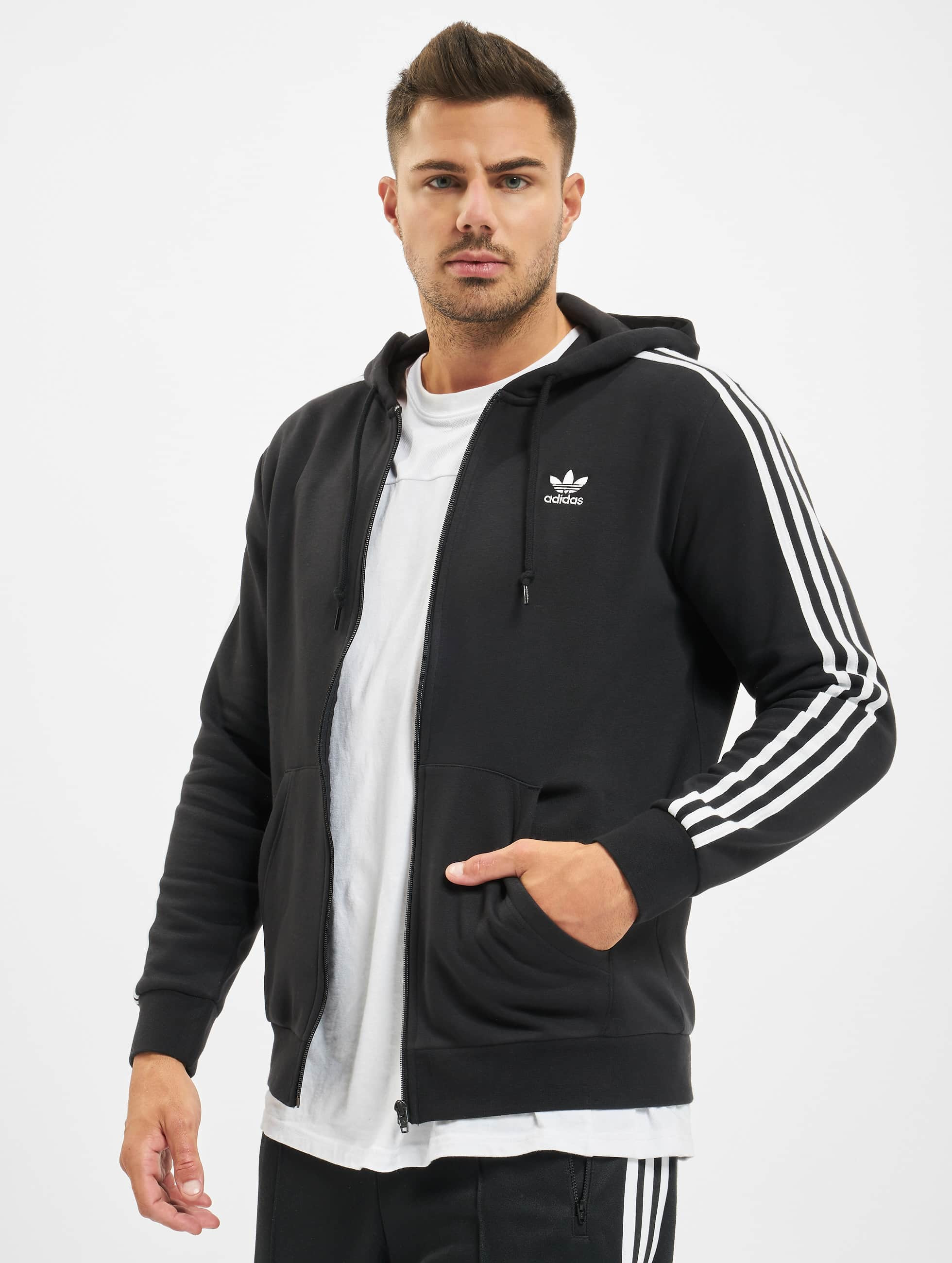 Adidas 3 Stripes Full Zip Hoody Black