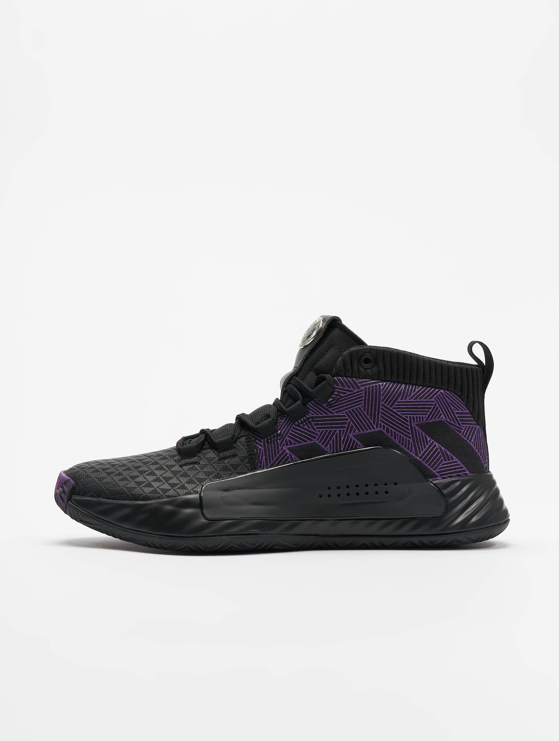 Adidas Dame 5 J Basketball Shoes Core BlackActive PurpleSilvern Met